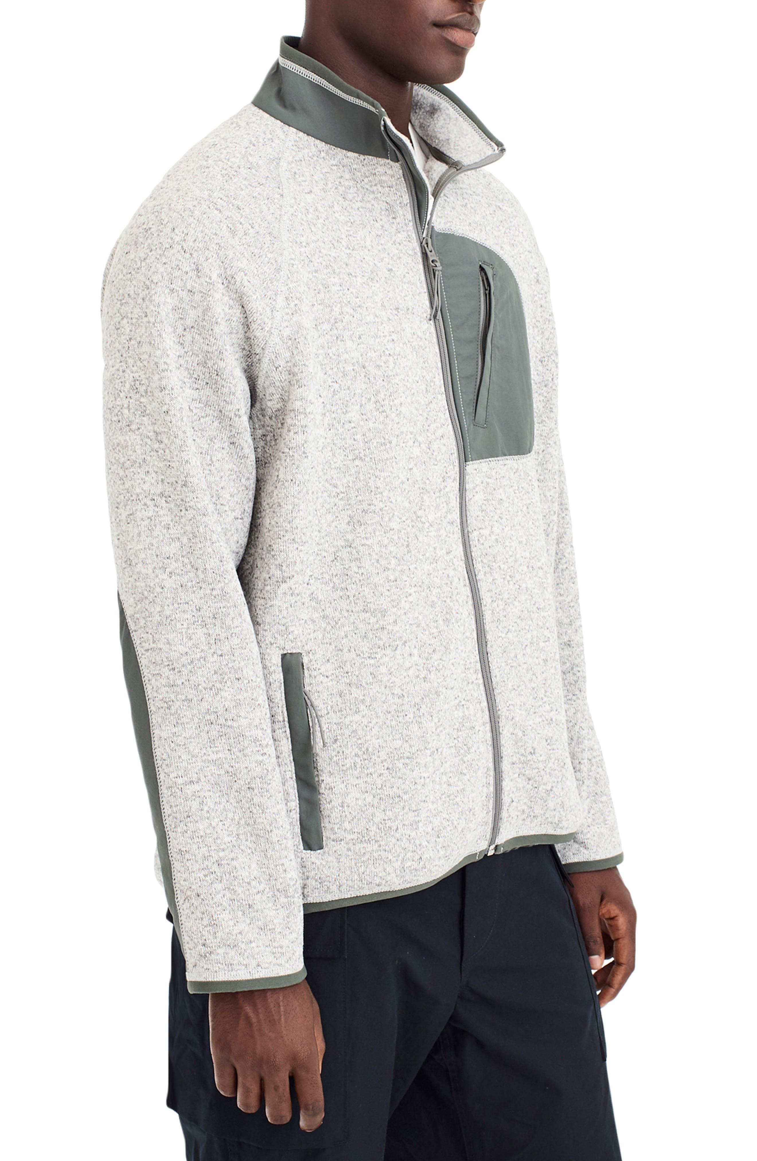 Classic Fit Fleece Sweater Jacket,                             Alternate thumbnail 3, color,                             LIGHT GREY