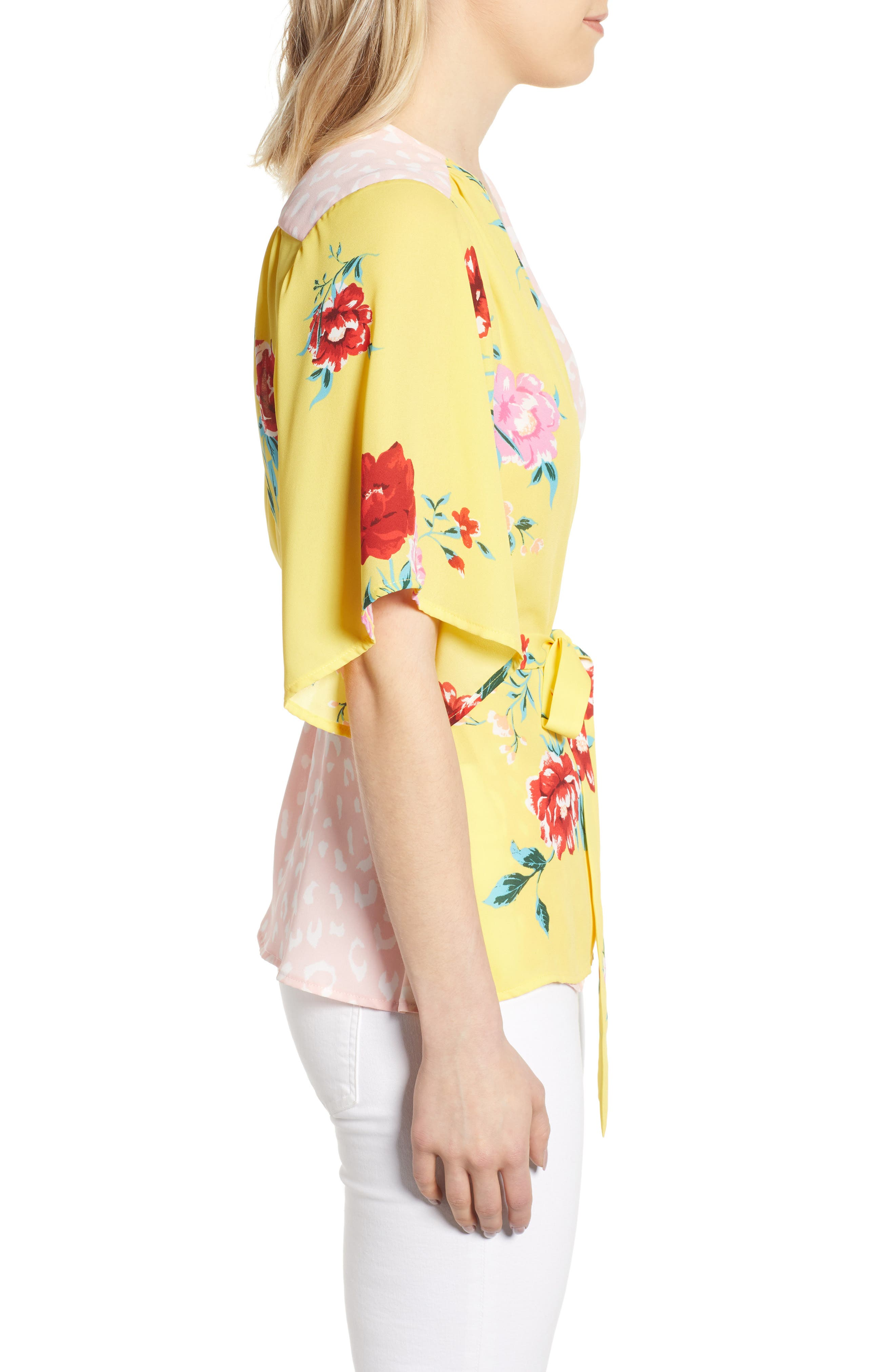 GIBSON,                             x International Women's Day Mindy Kimono Sleeve Wrap Blouse,                             Alternate thumbnail 3, color,                             VIRGINIA BLOOM
