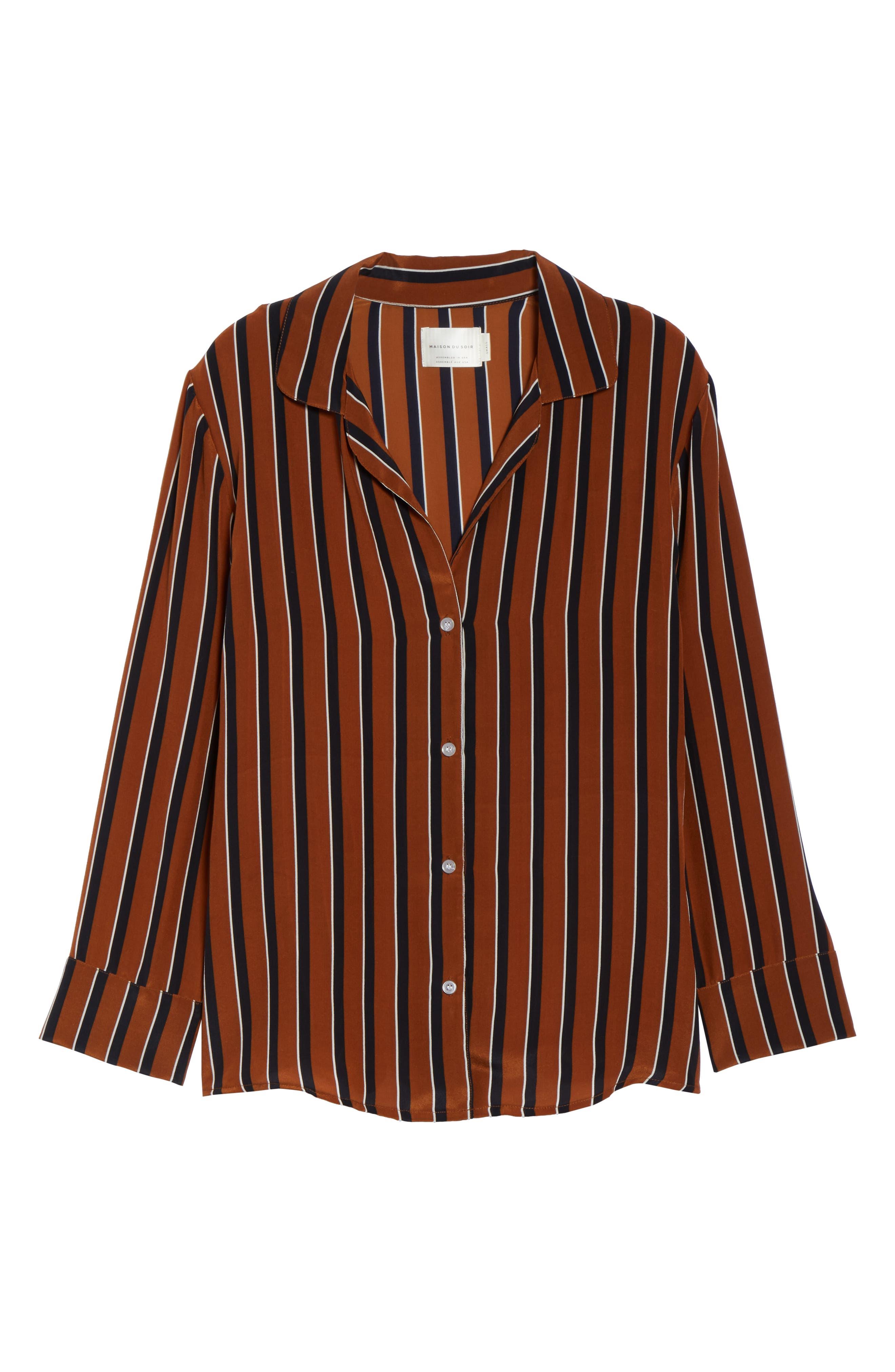Fleur Striped Silk Pajama Top,                             Alternate thumbnail 6, color,                             TOBACCO STRIPE