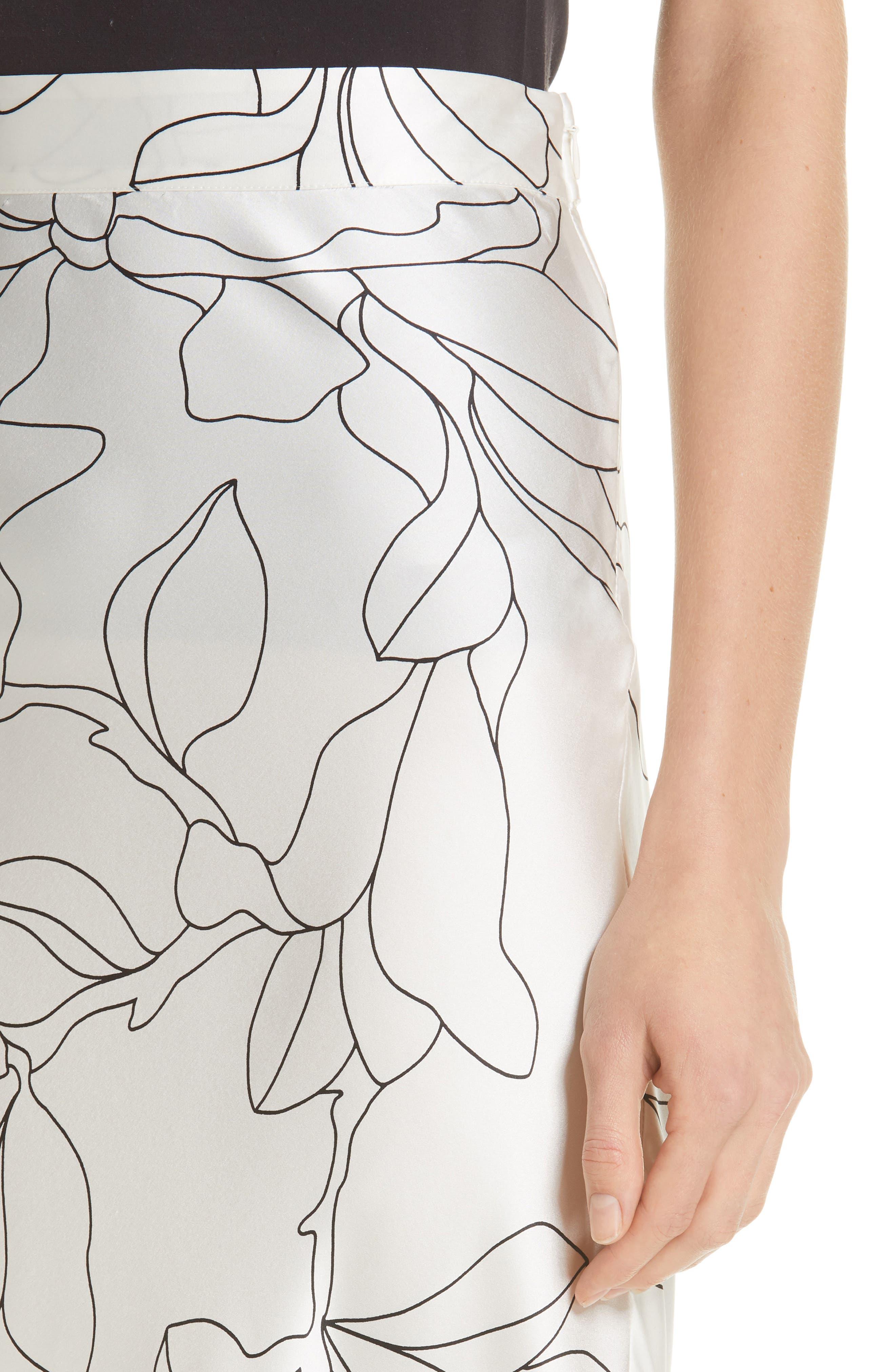 Iva Floral Silk Midi Skirt,                             Alternate thumbnail 4, color,                             NATURAL WHITE TRUE BLACK