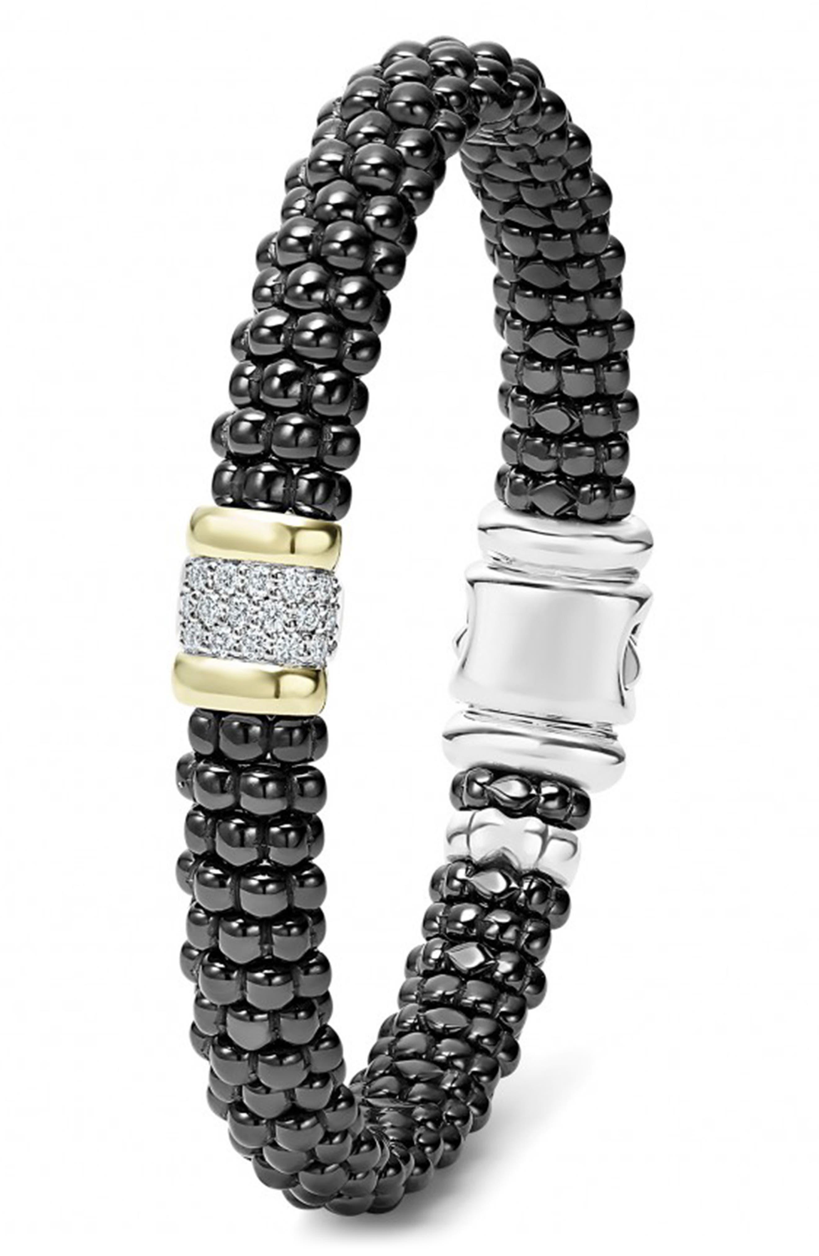 'Black Caviar' Diamond Rope Bracelet,                             Alternate thumbnail 4, color,                             BLACK CAVIAR/ GOLD