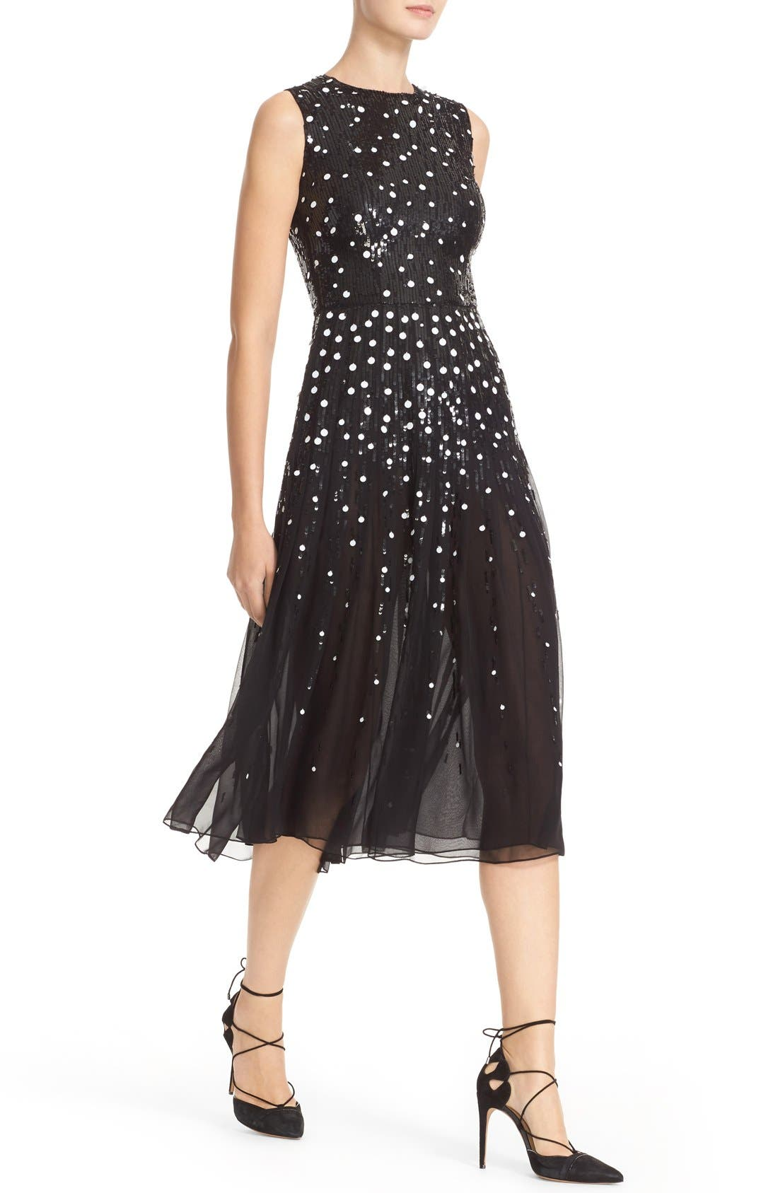 Dégradé Sequin Silk Midi Dress,                             Alternate thumbnail 5, color,                             BLACK/ WHITE