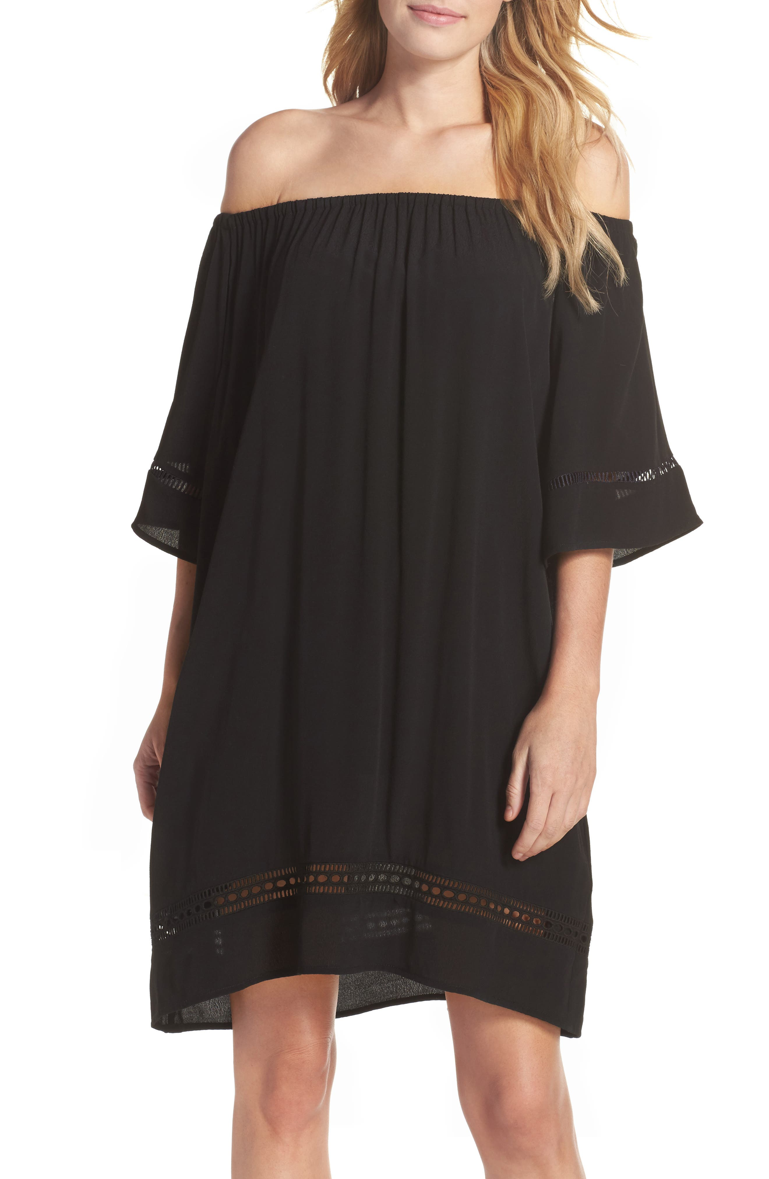 City Wide Off the Shoulder Cover-Up Dress,                             Main thumbnail 1, color,                             001
