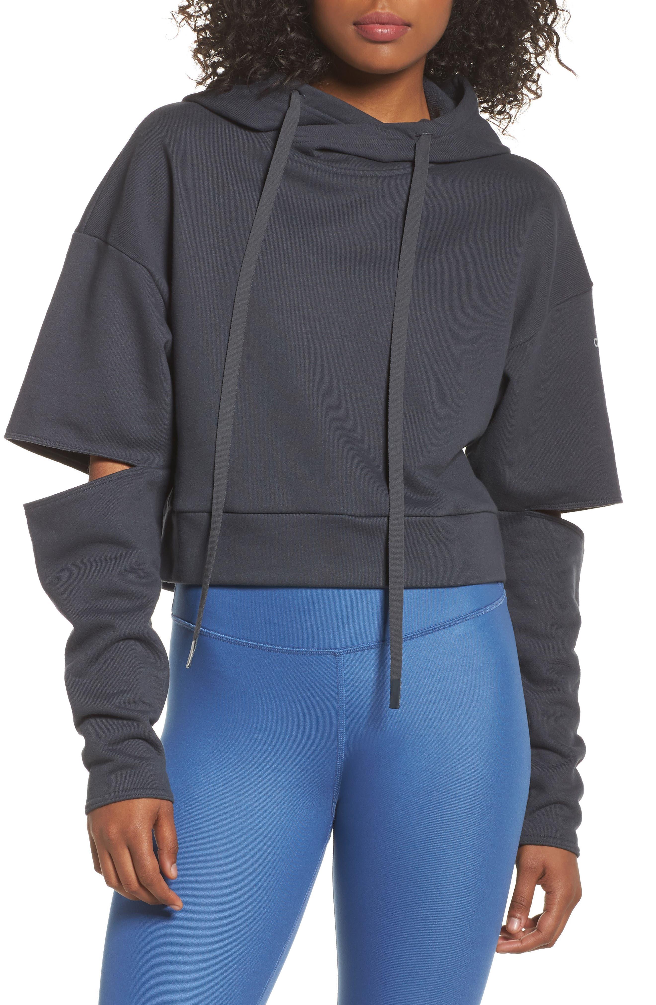 Peak Cutout Long Sleeve Pullover Crop Hoodie,                             Main thumbnail 2, color,