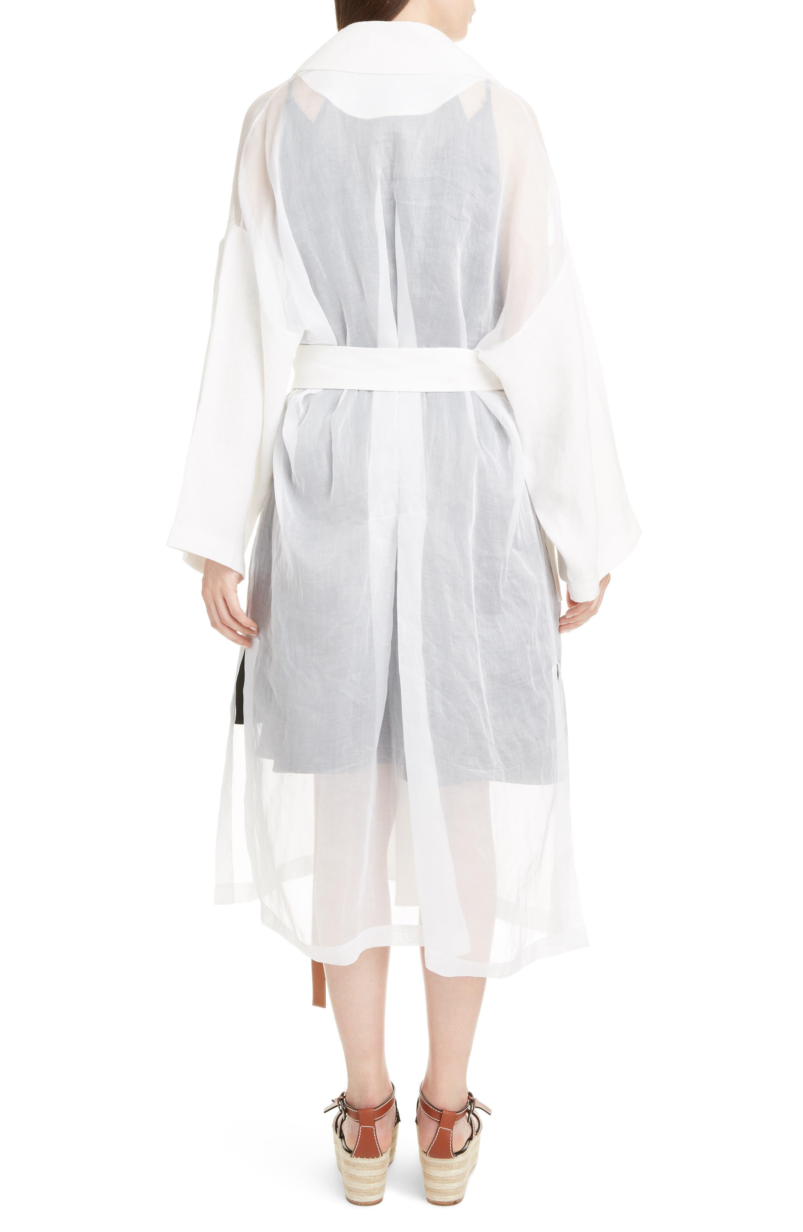 Sheer Cotton & Linen Trench Coat,                             Alternate thumbnail 2, color,                             WHITE