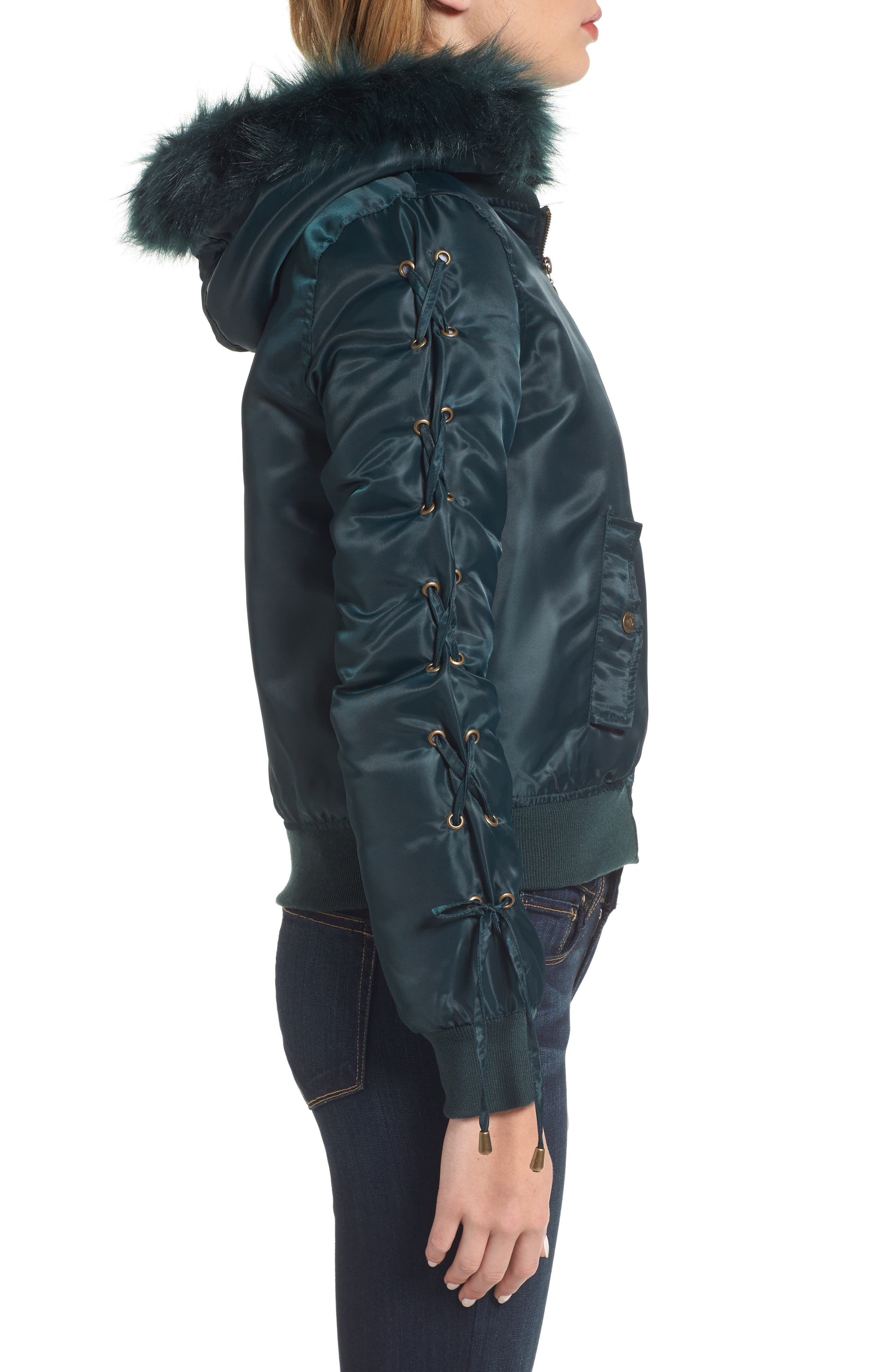 Lace-Up Sleeve Quilted Bomber Jacket,                             Alternate thumbnail 3, color,                             446