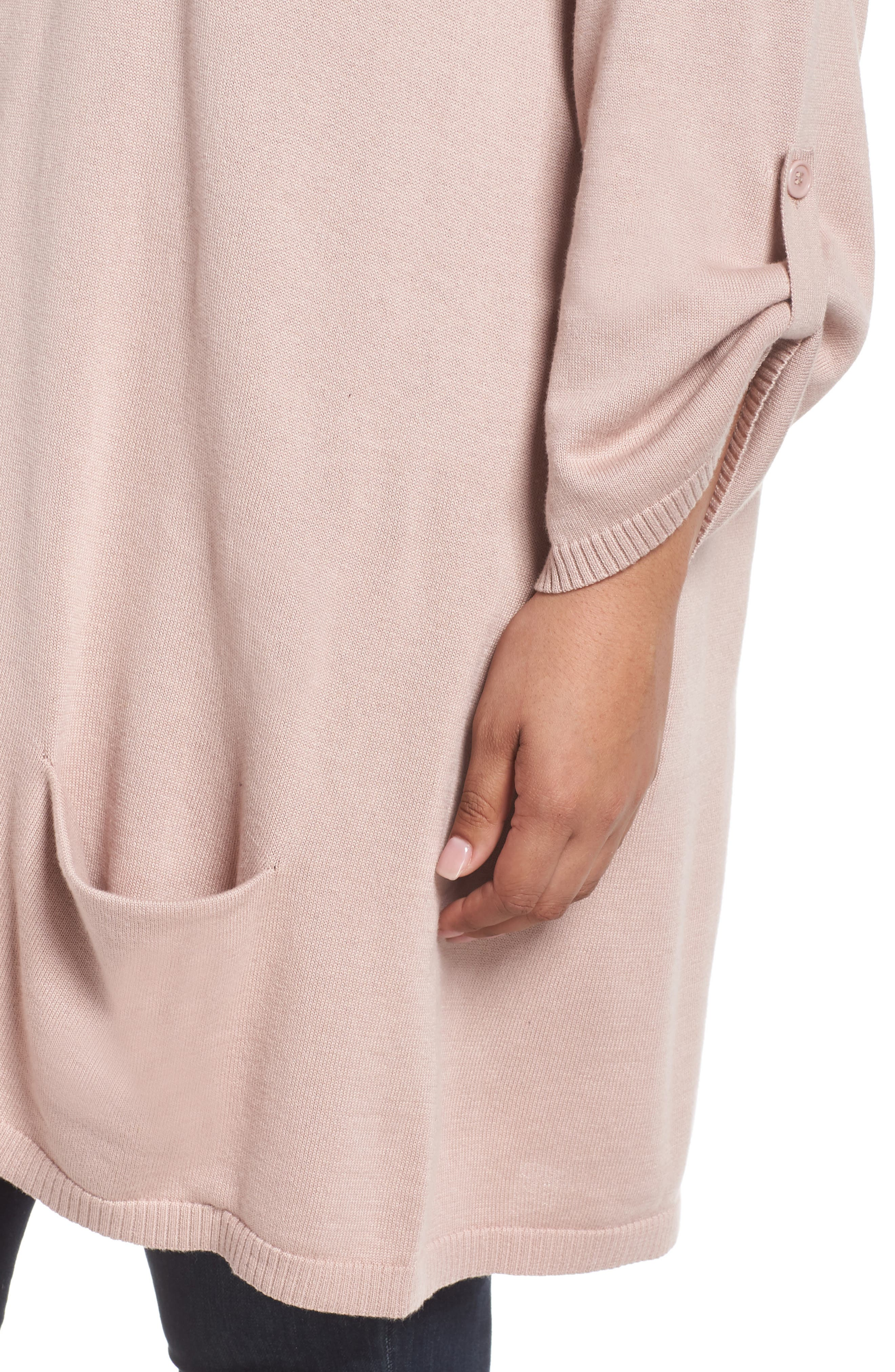 Roll Sleeve Tunic Sweater,                             Alternate thumbnail 4, color,                             PINK ADOBE
