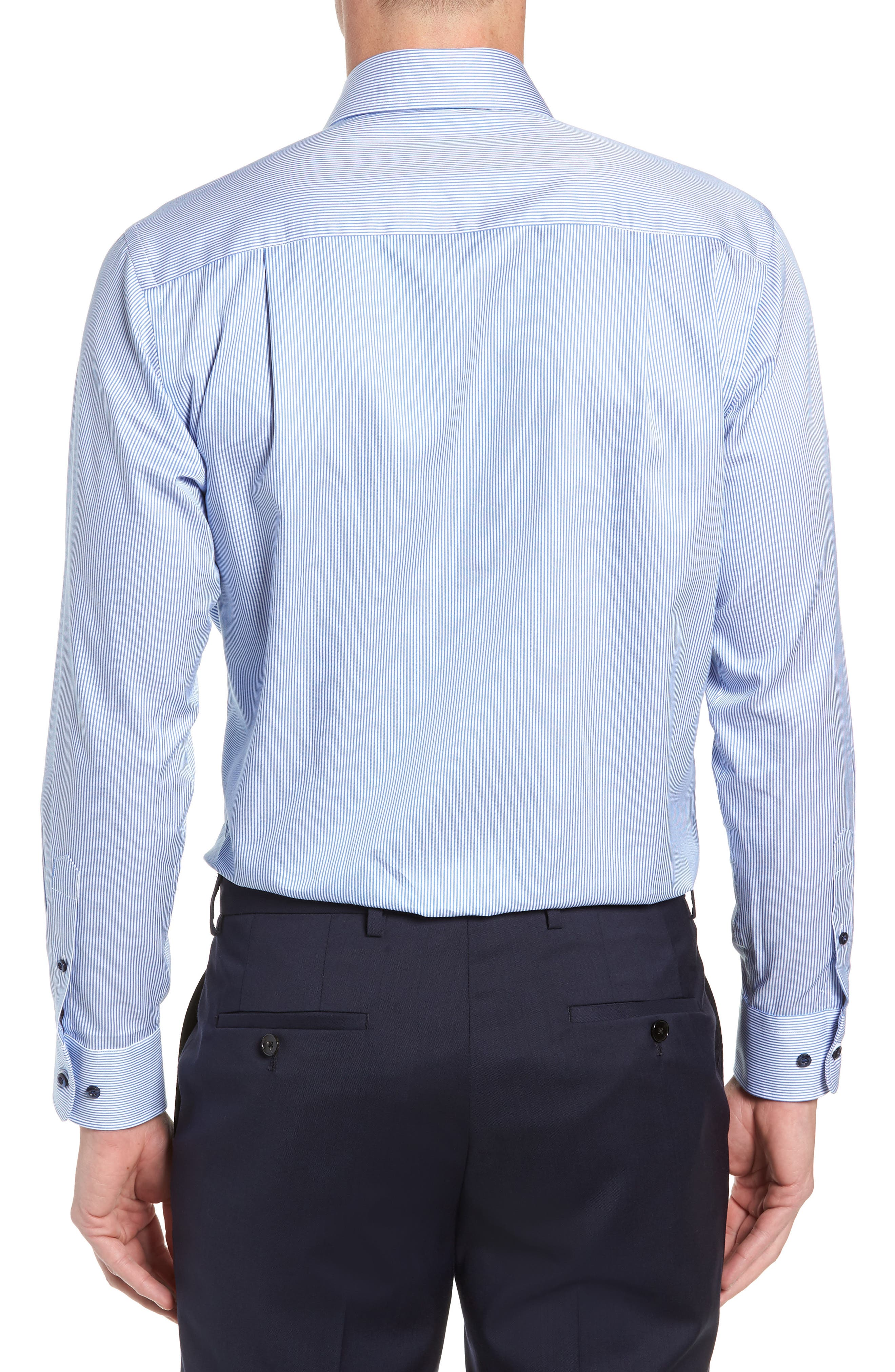 Trim Fit Stripe Dress Shirt,                             Alternate thumbnail 3, color,                             BLUE