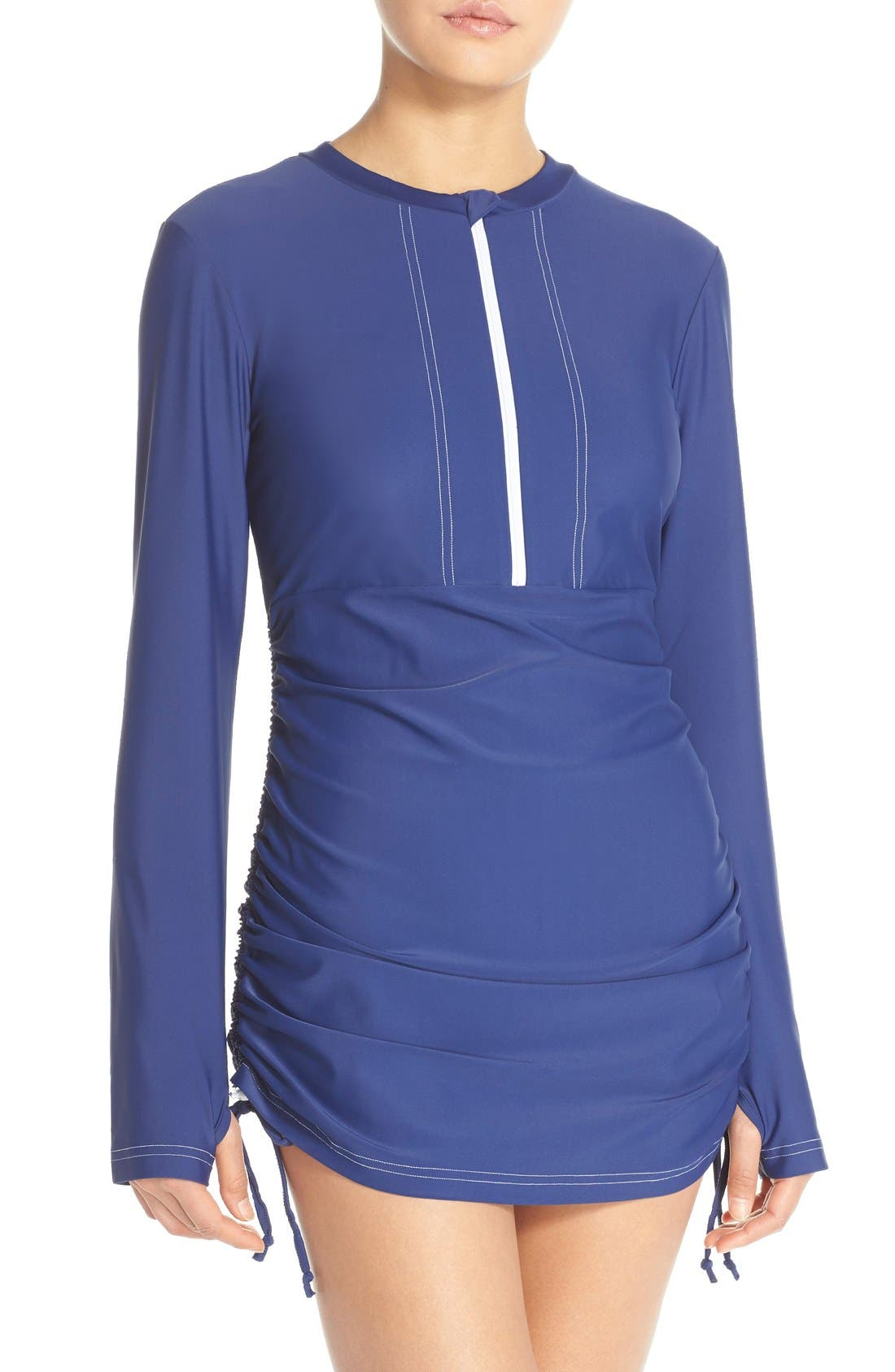 'Sonja' Long Sleeve Half Zip Convertible Swimdress,                             Main thumbnail 7, color,