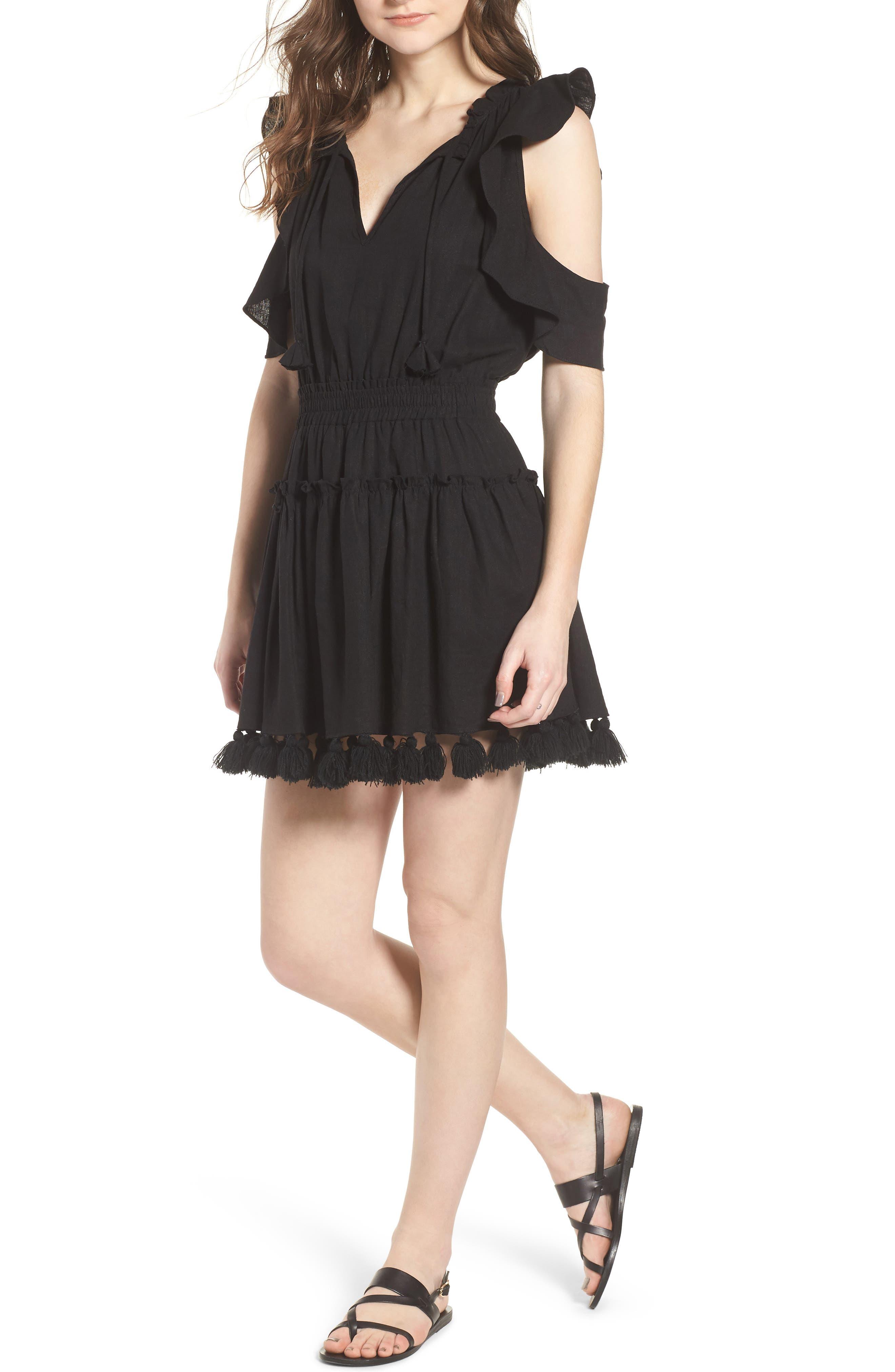 Selma Cold Shoulder Linen Blend Dress,                             Main thumbnail 1, color,                             001