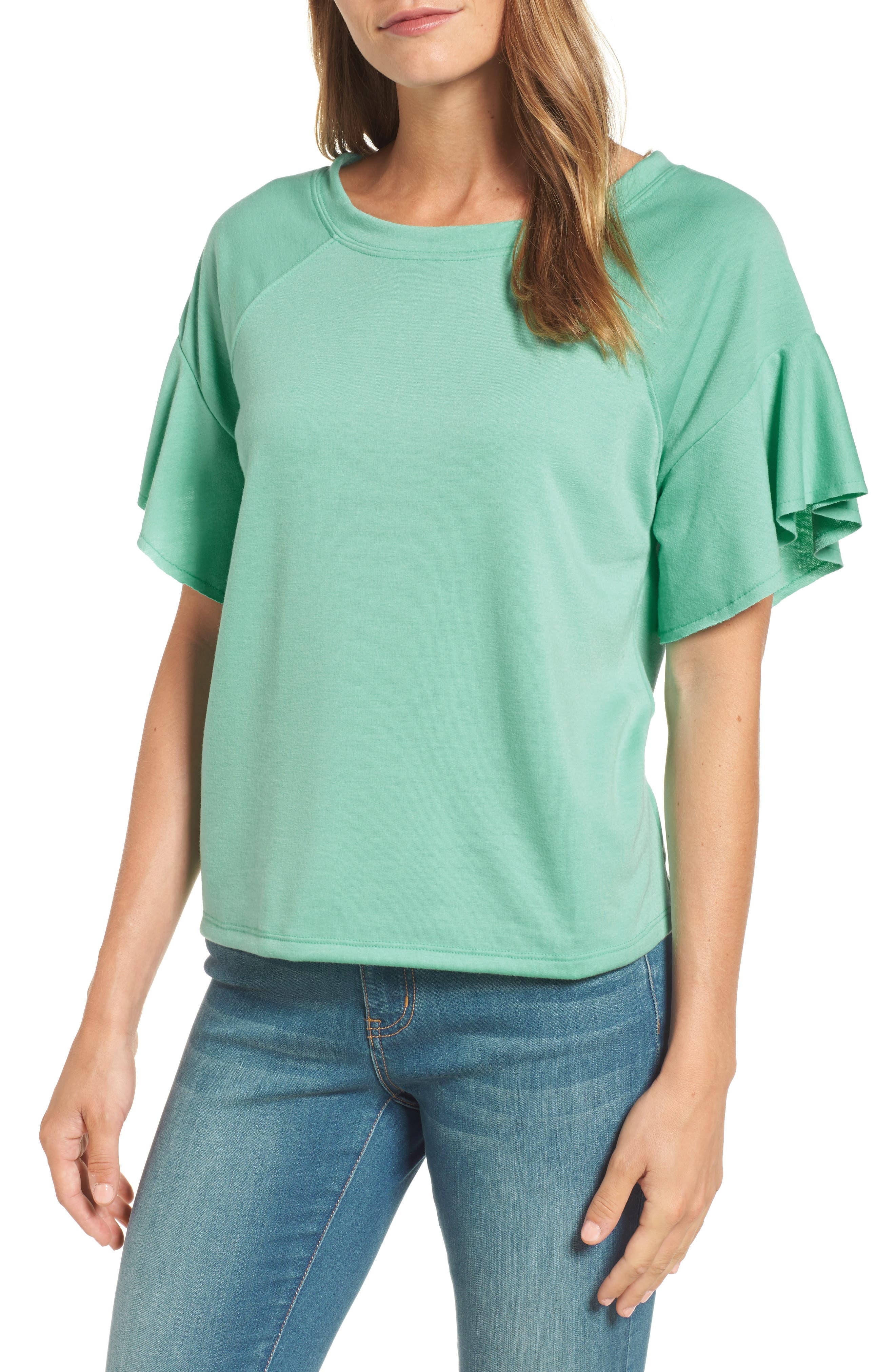 Ruffle Sleeve Sweatshirt,                             Main thumbnail 2, color,