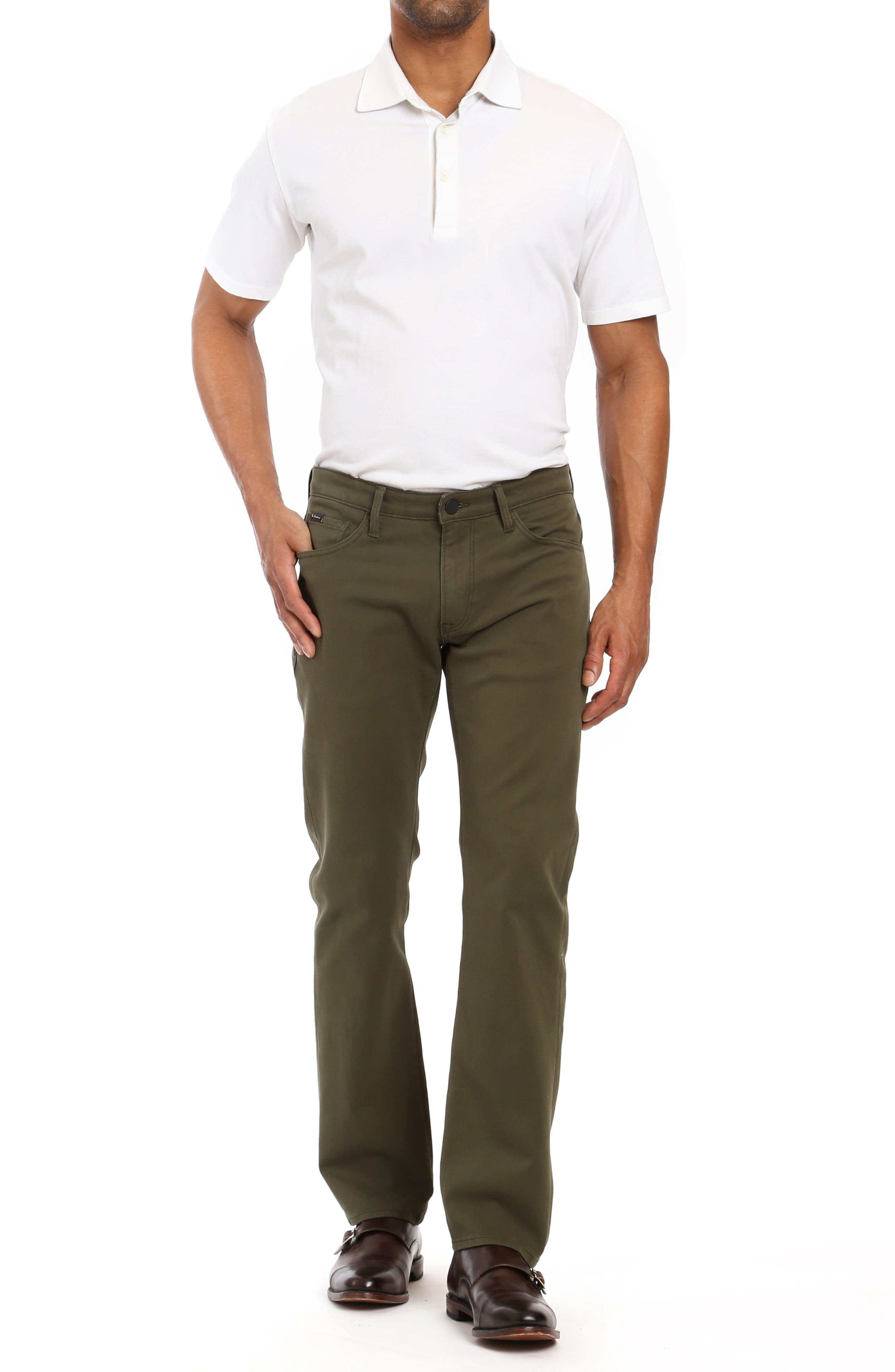 Courage Straight Leg Twill Pants,                             Alternate thumbnail 4, color,                             GREEN FINE TWILL