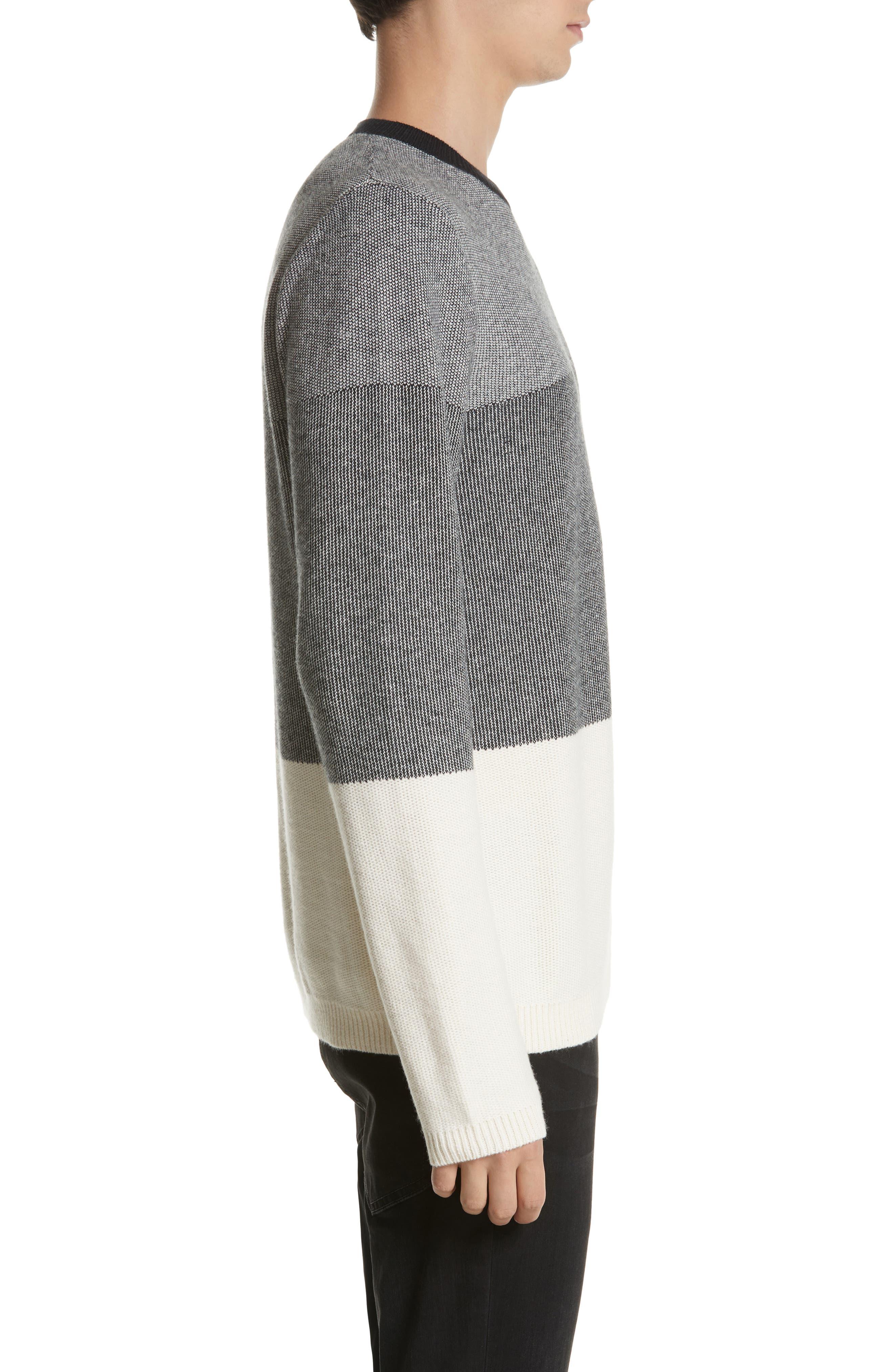 Colorblock Crewneck Sweater,                             Alternate thumbnail 3, color,                             001