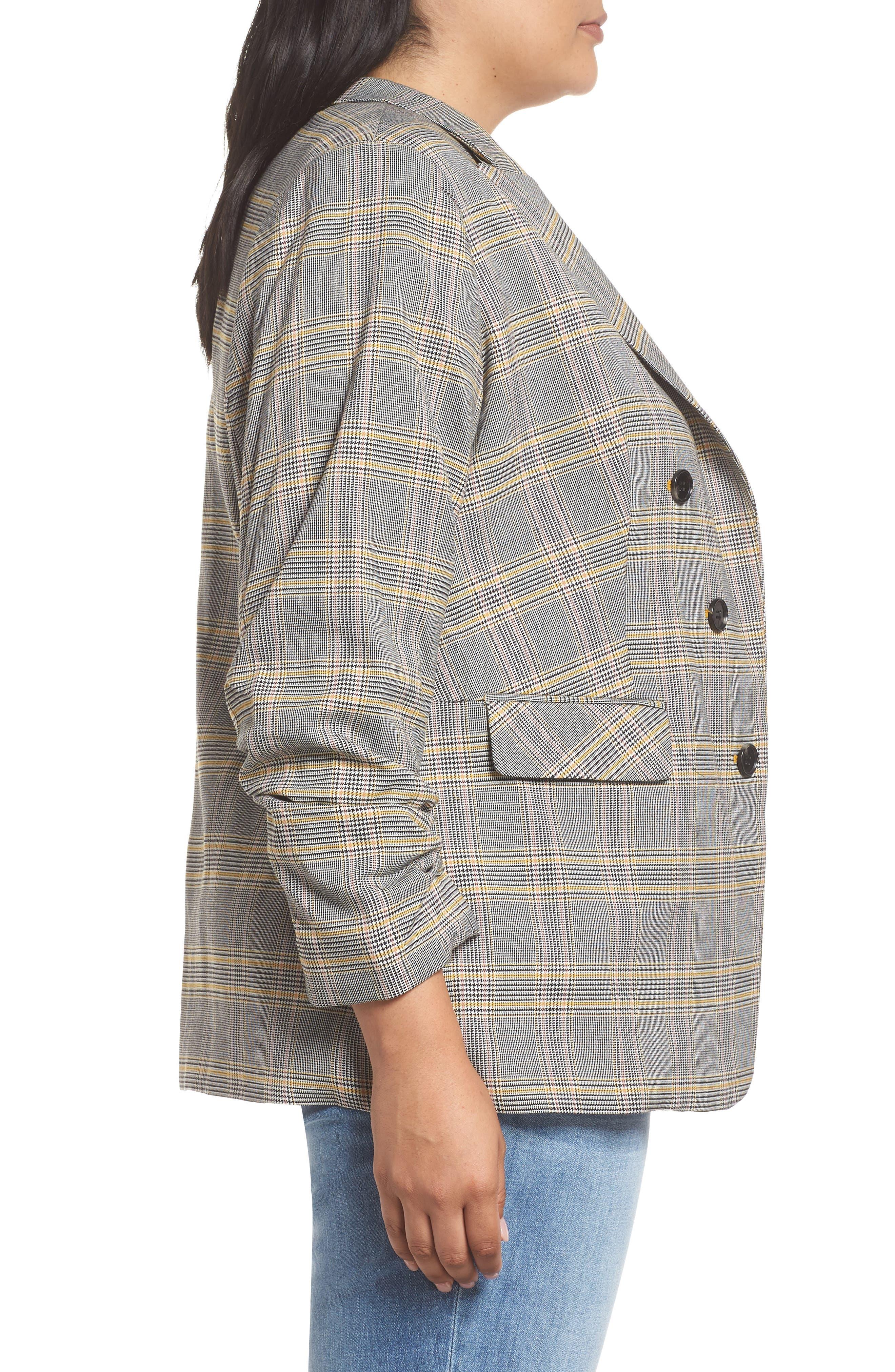 Plaid Ruched Sleeve Blazer,                             Alternate thumbnail 3, color,                             RICH BLACK