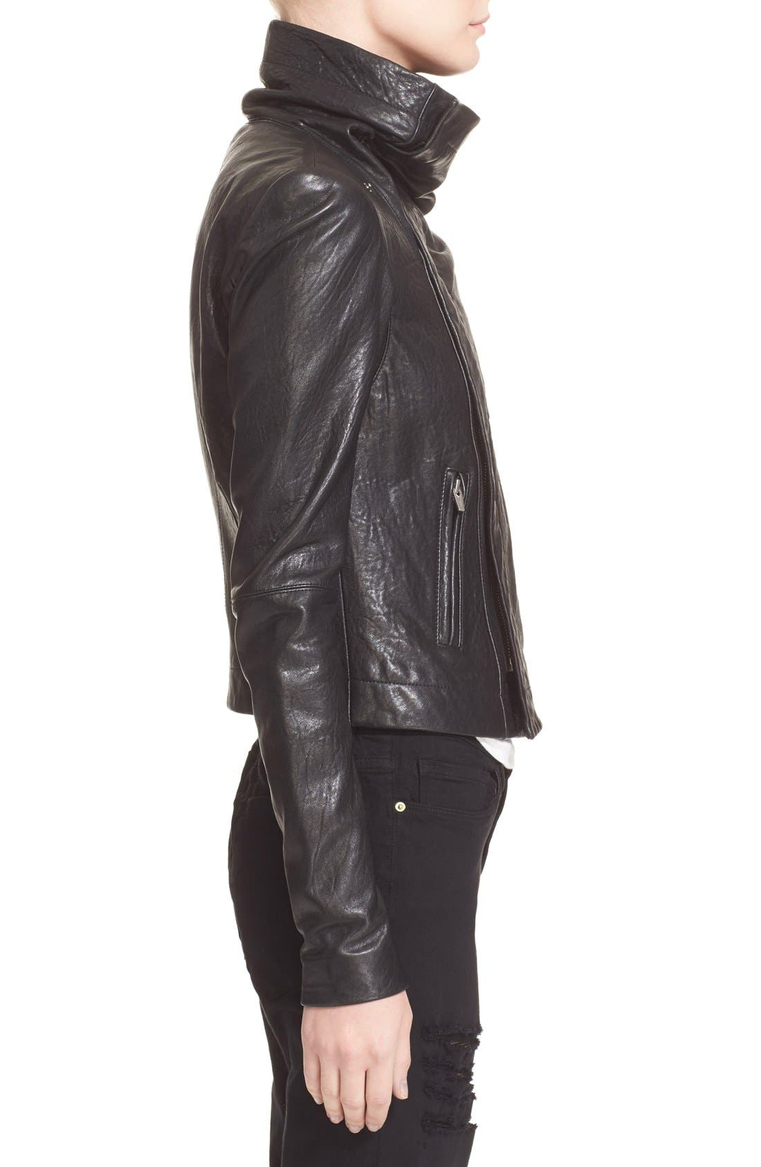 VEDA,                             'Max Classic' Leather Jacket,                             Alternate thumbnail 4, color,                             001
