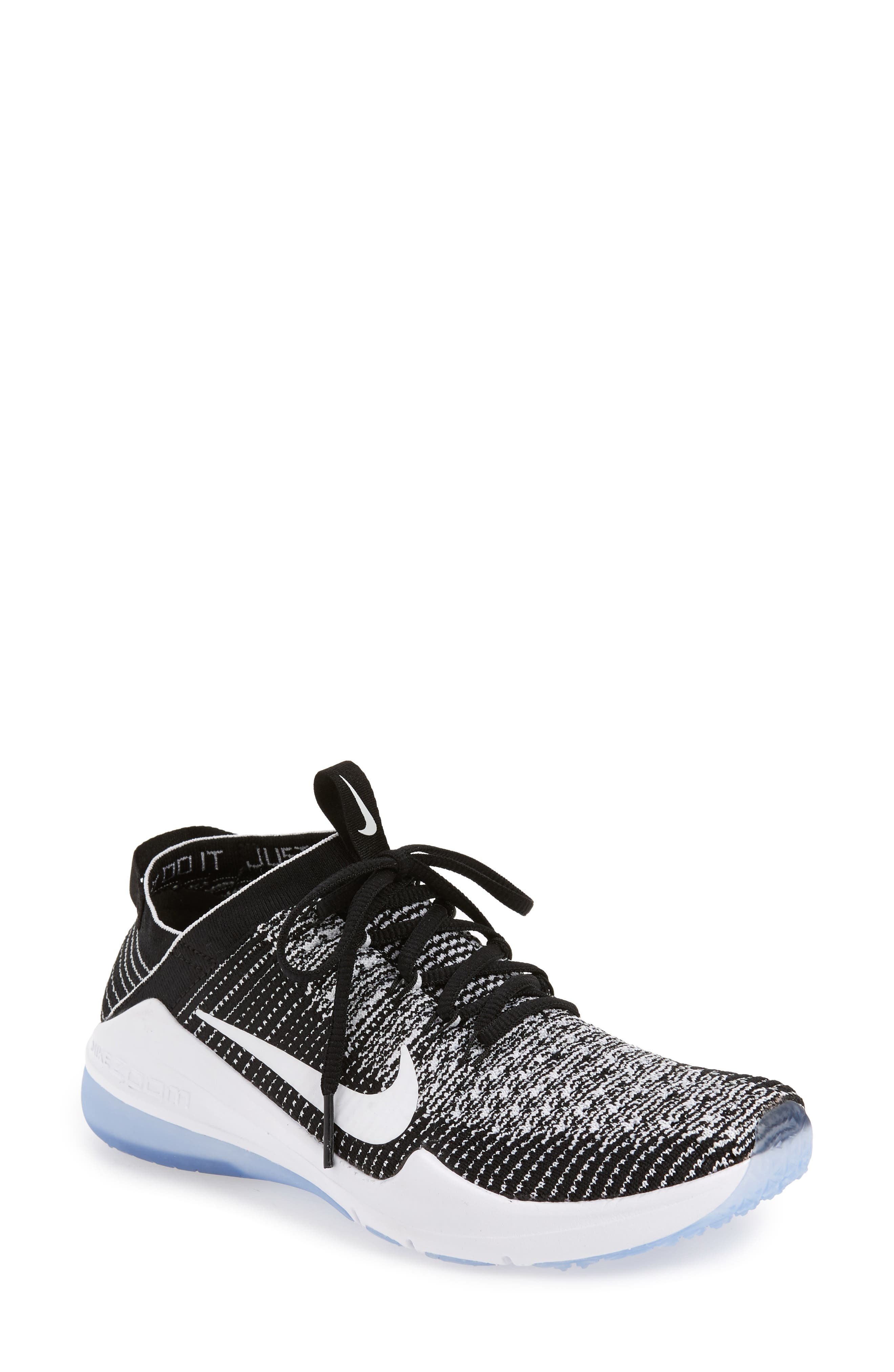 Air Zoom Fearless Flyknit 2 Training Sneaker,                         Main,                         color, BLACK/ WHITE