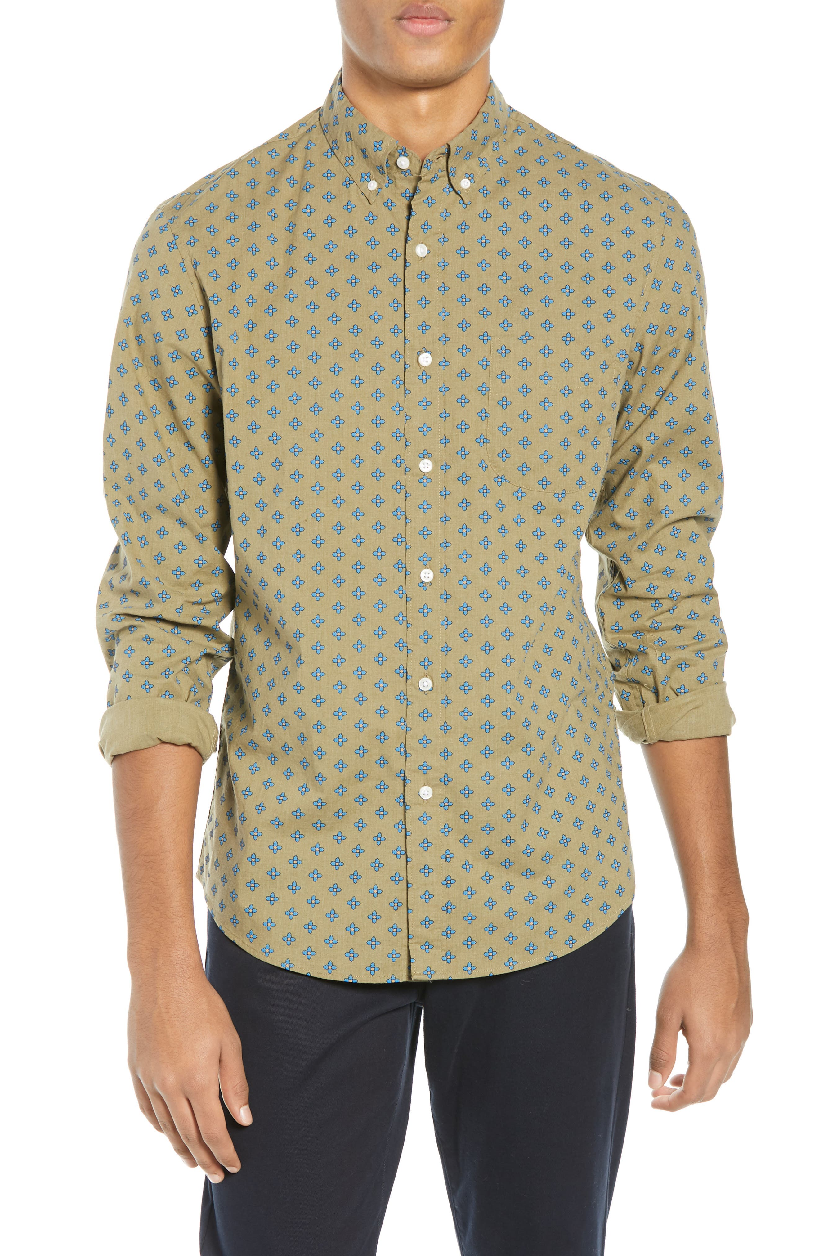 Slim Fit Stretch Secret Wash Geo Print Sport Shirt,                             Main thumbnail 1, color,                             FROSTY OLIVE