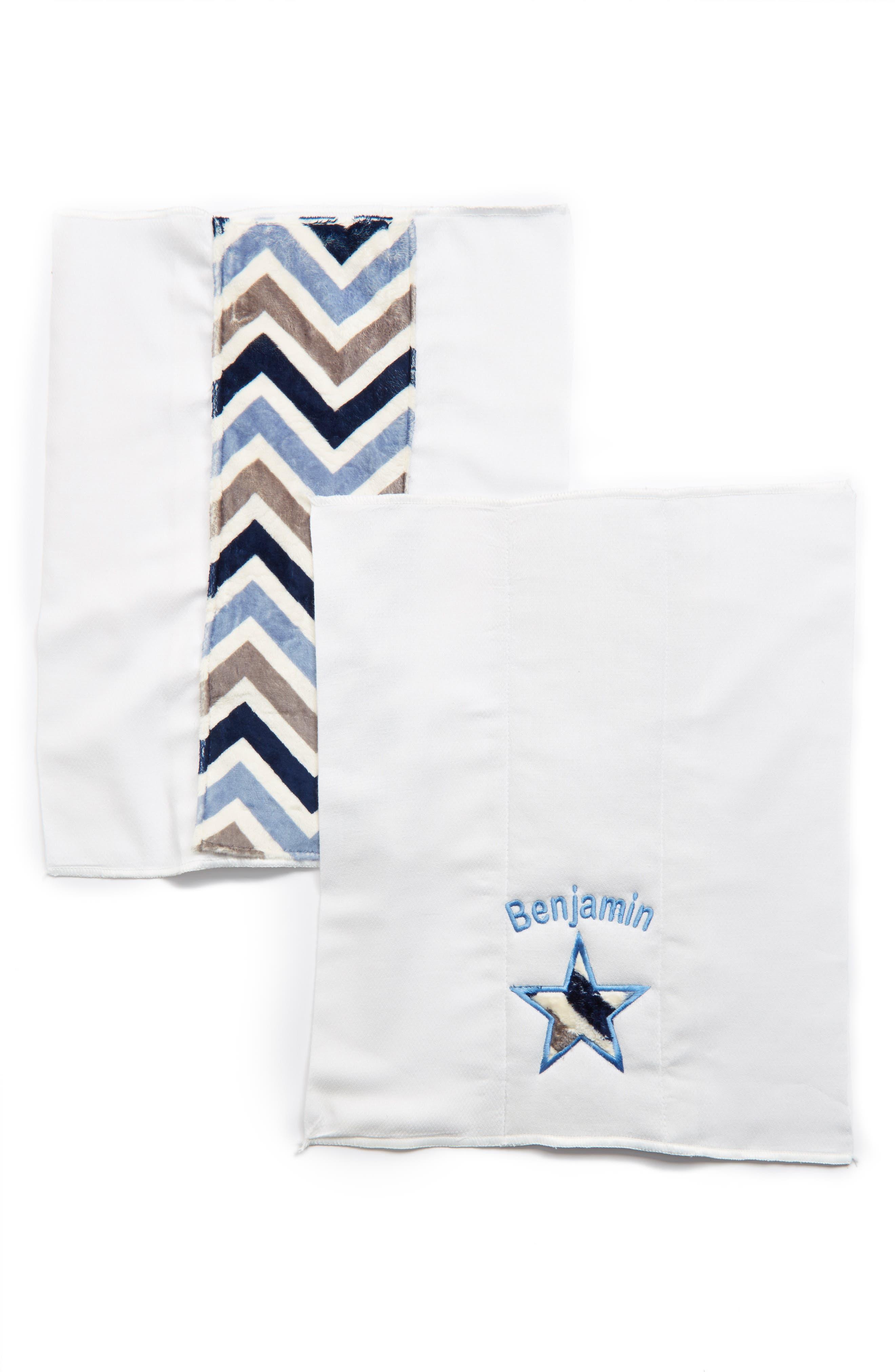 Personalized Burp Cloths,                             Alternate thumbnail 3, color,                             BLUE CHEVRON
