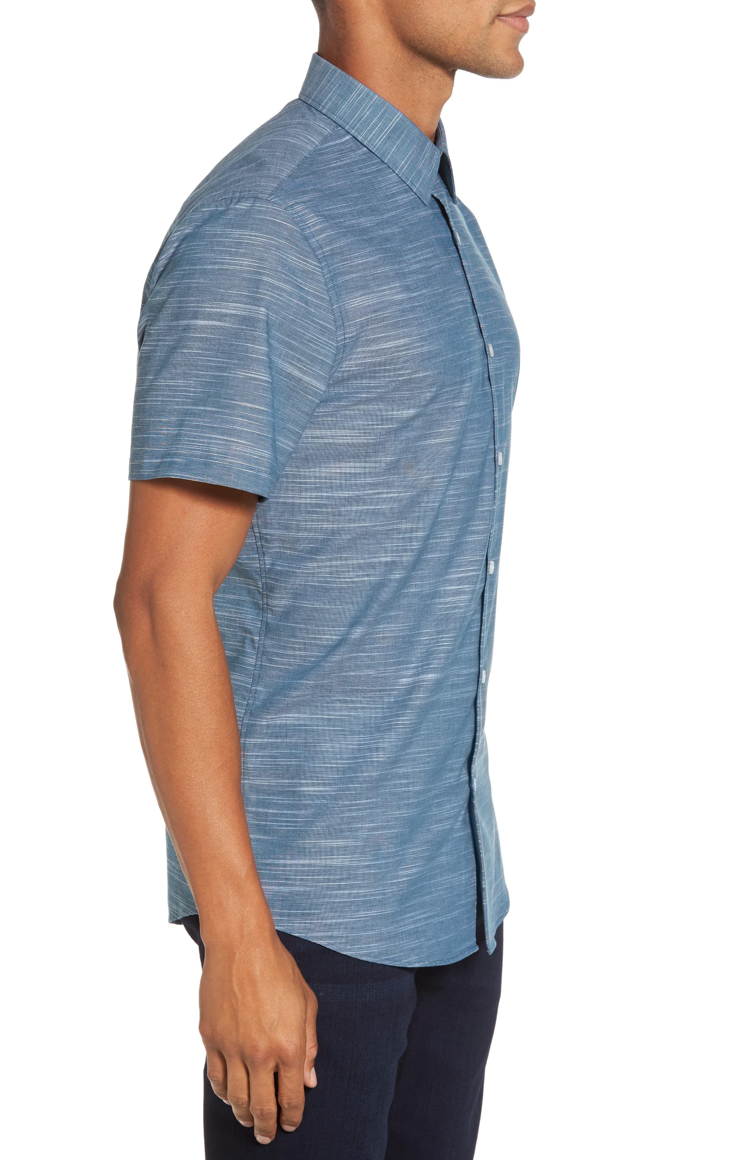 Calilbrate Slim Fit Slub Woven Shirt,                             Alternate thumbnail 7, color,