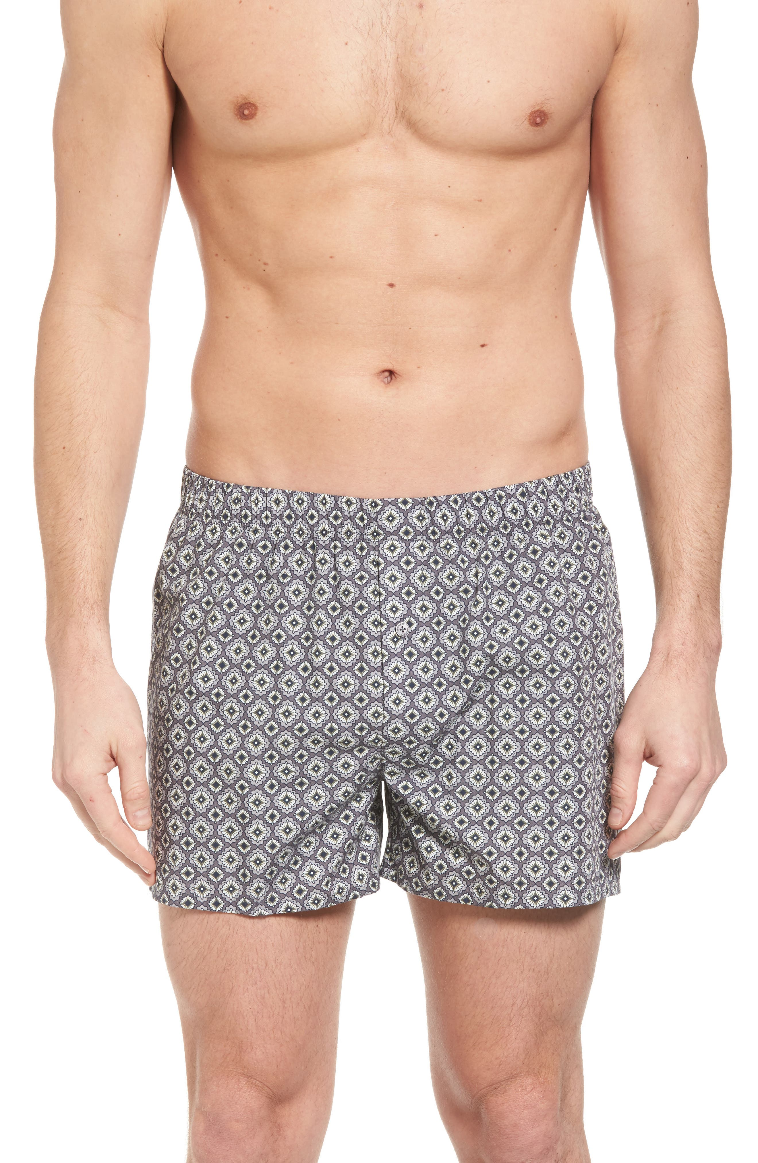 2-Pack Fancy Woven Boxers,                             Alternate thumbnail 2, color,                             GREY/ SQUARED FLOWERS