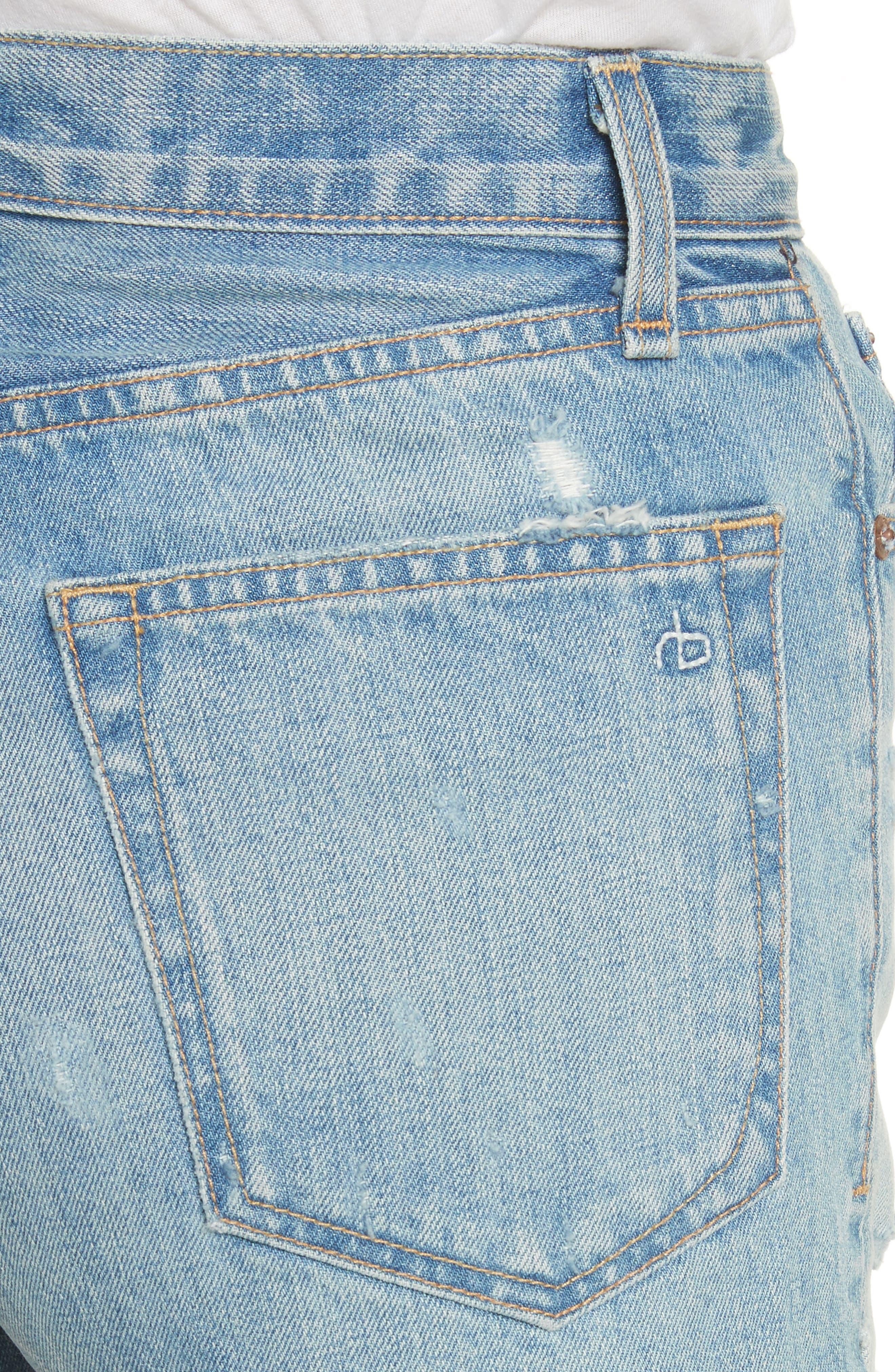 Justine High Waist Cutoff Denim Shorts,                             Alternate thumbnail 4, color,                             450