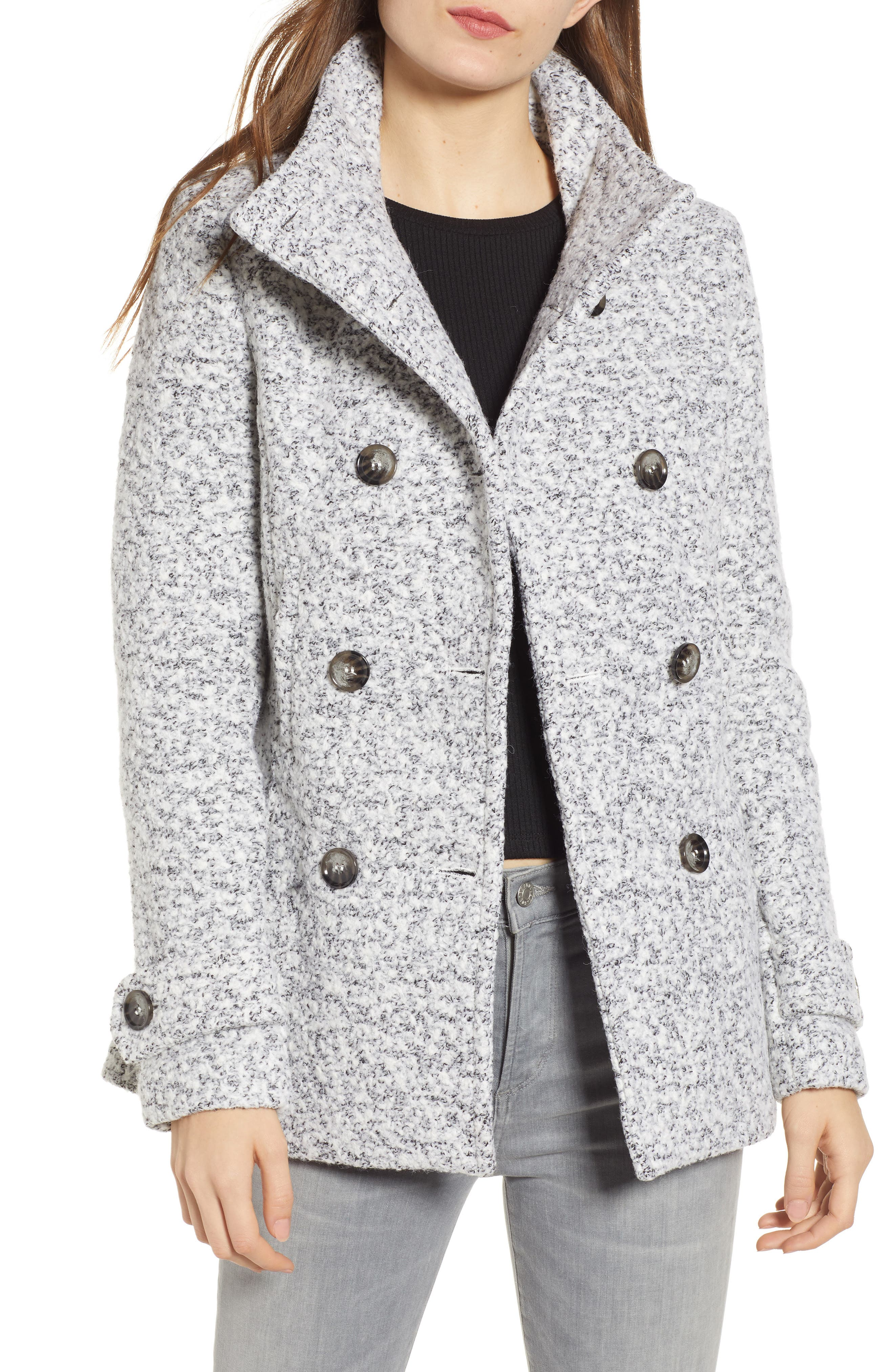 Oxford Double Breasted Coat, Main, color, SALT/ PEPPER