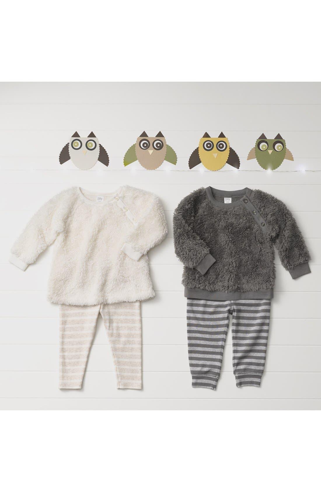 Faux Fur Top & Leggings,                             Alternate thumbnail 3, color,                             GREY PEARL- NAVY