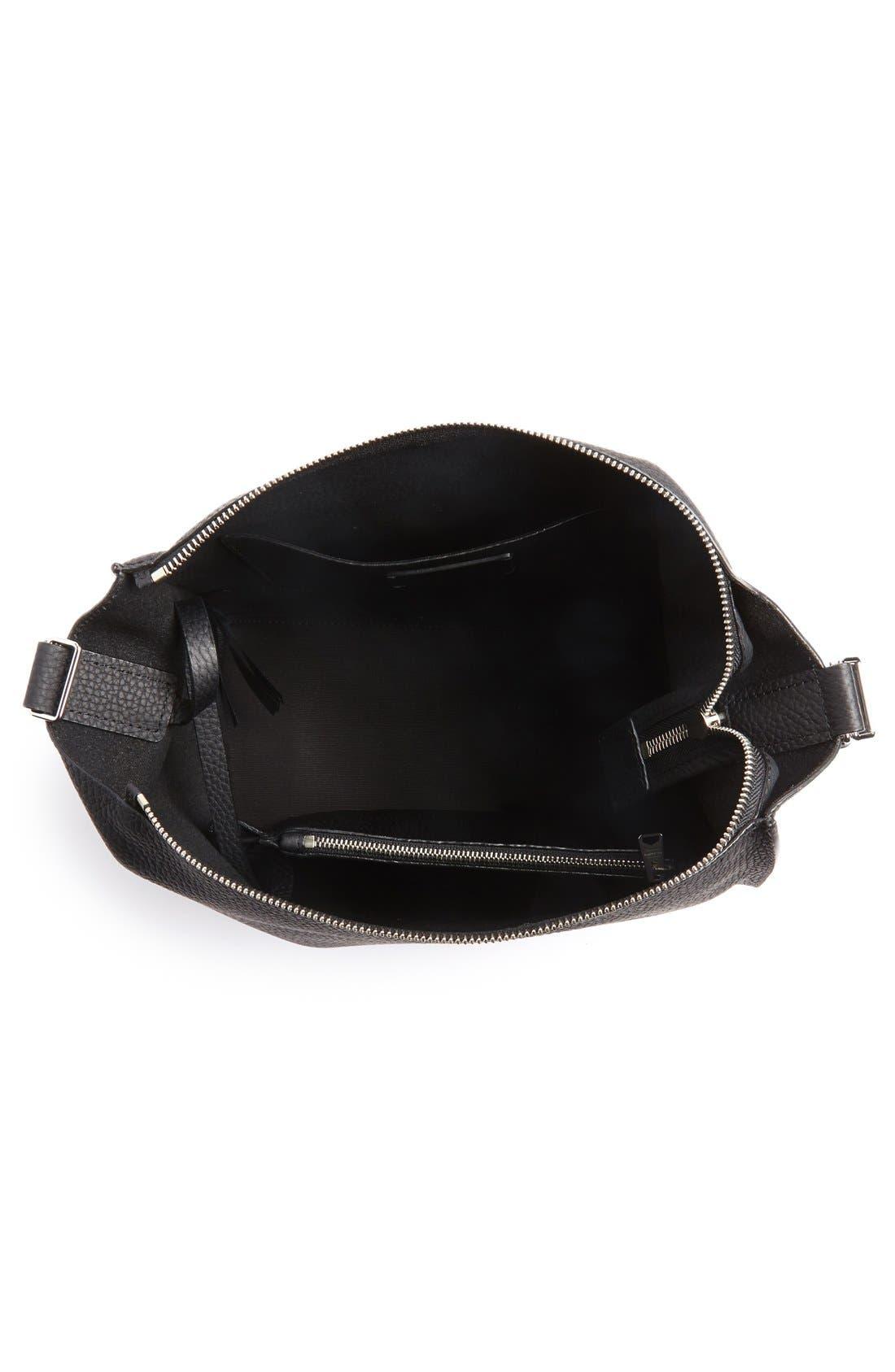 'Kita' Leather Shoulder/Crossbody Bag,                             Alternate thumbnail 4, color,                             BLACK