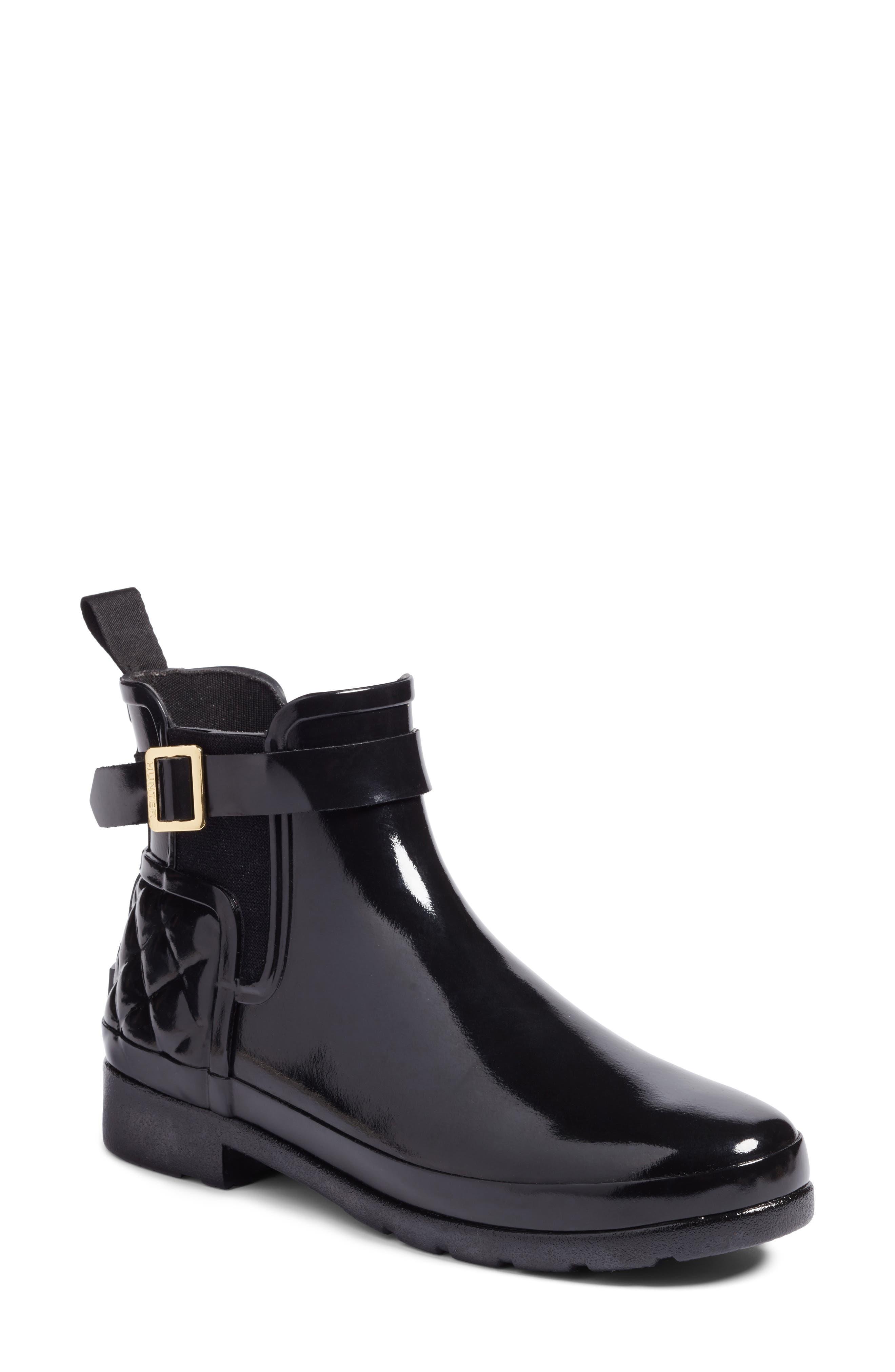 Hunter Original Refined Quilted Gloss Chelsea Waterproof Boot, Black