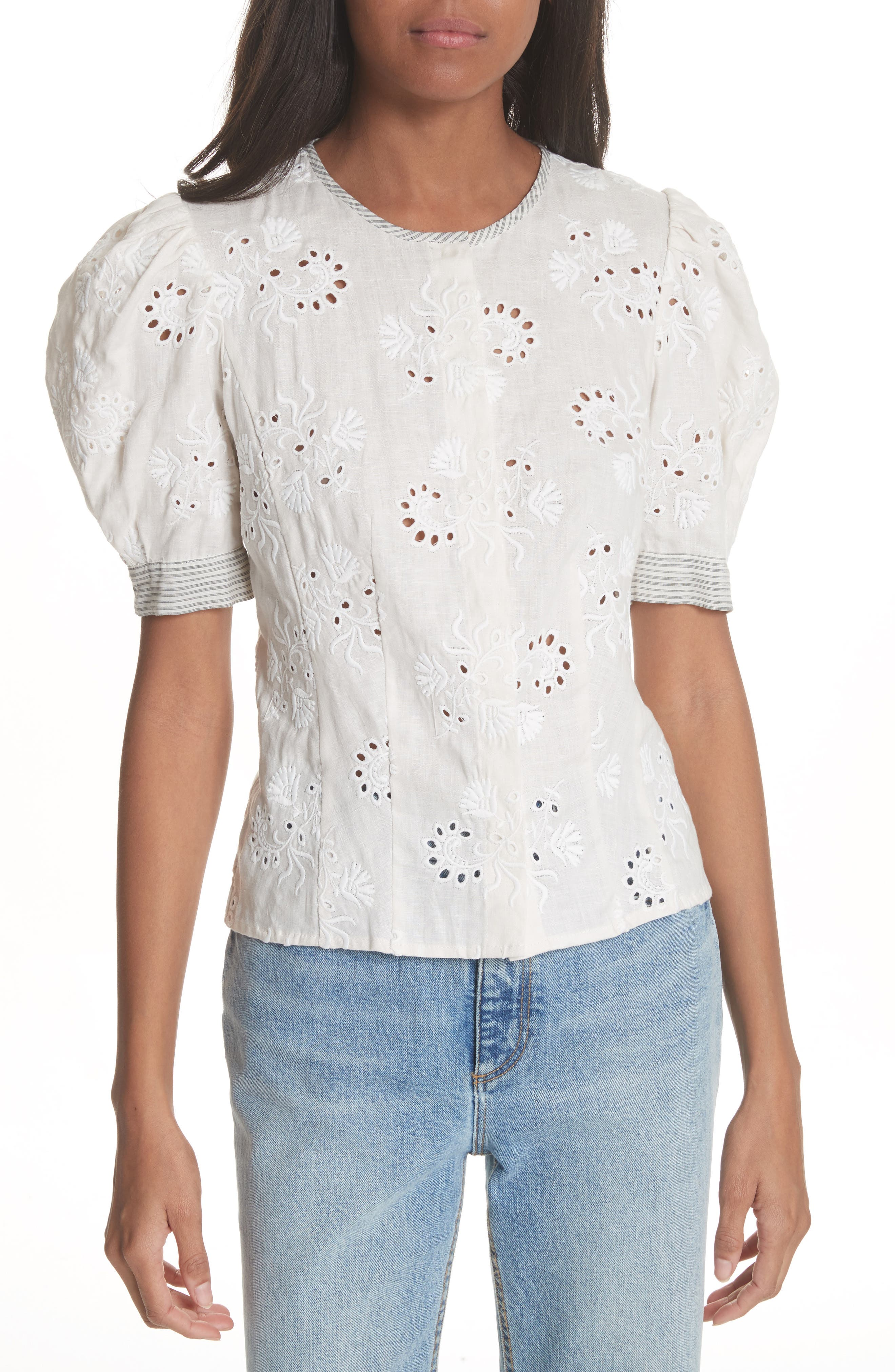 Garden Eyelet Linen Top,                         Main,                         color, 192