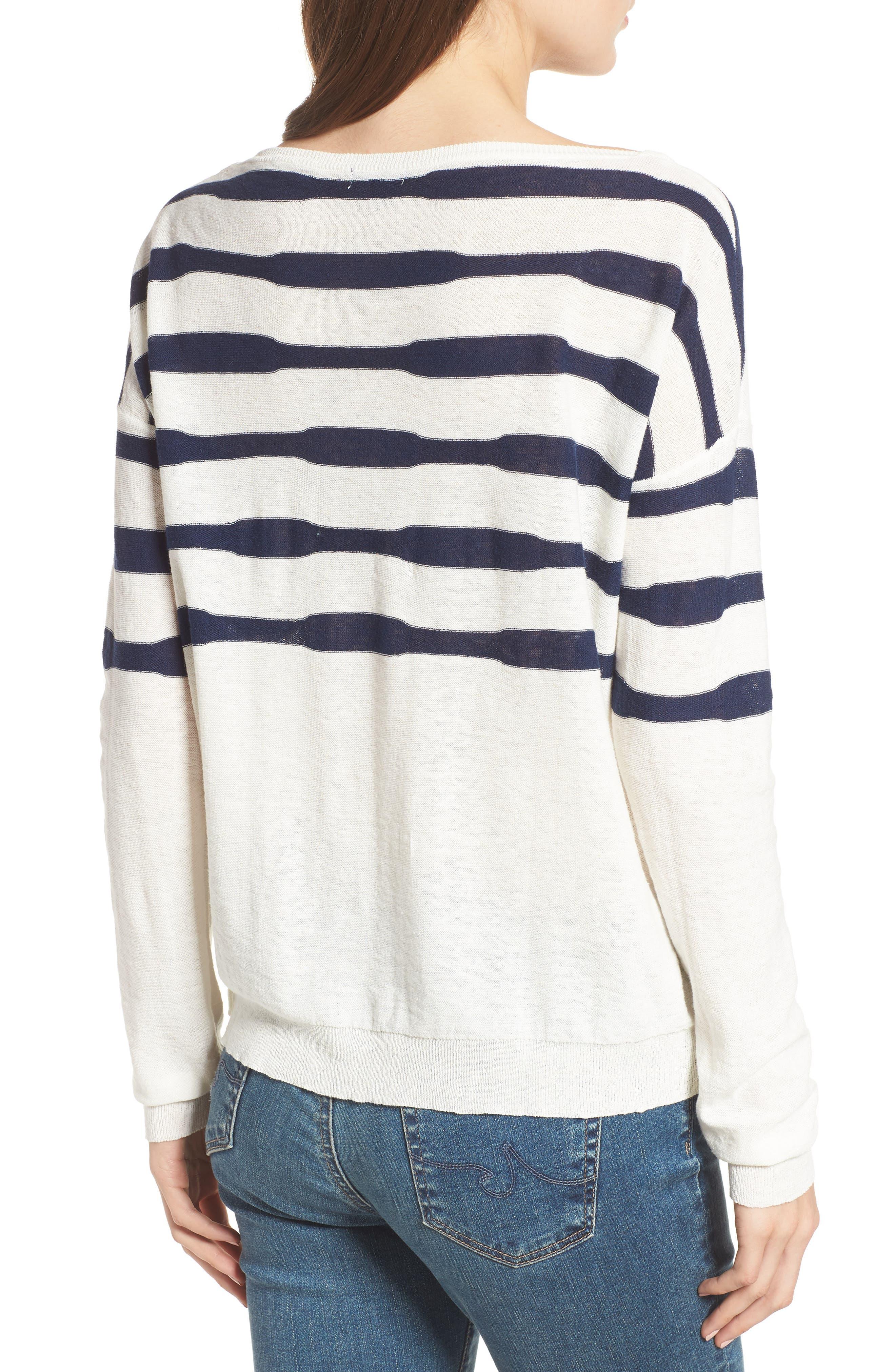 Stripe Linen & Cotton Sweater,                             Alternate thumbnail 2, color,                             020