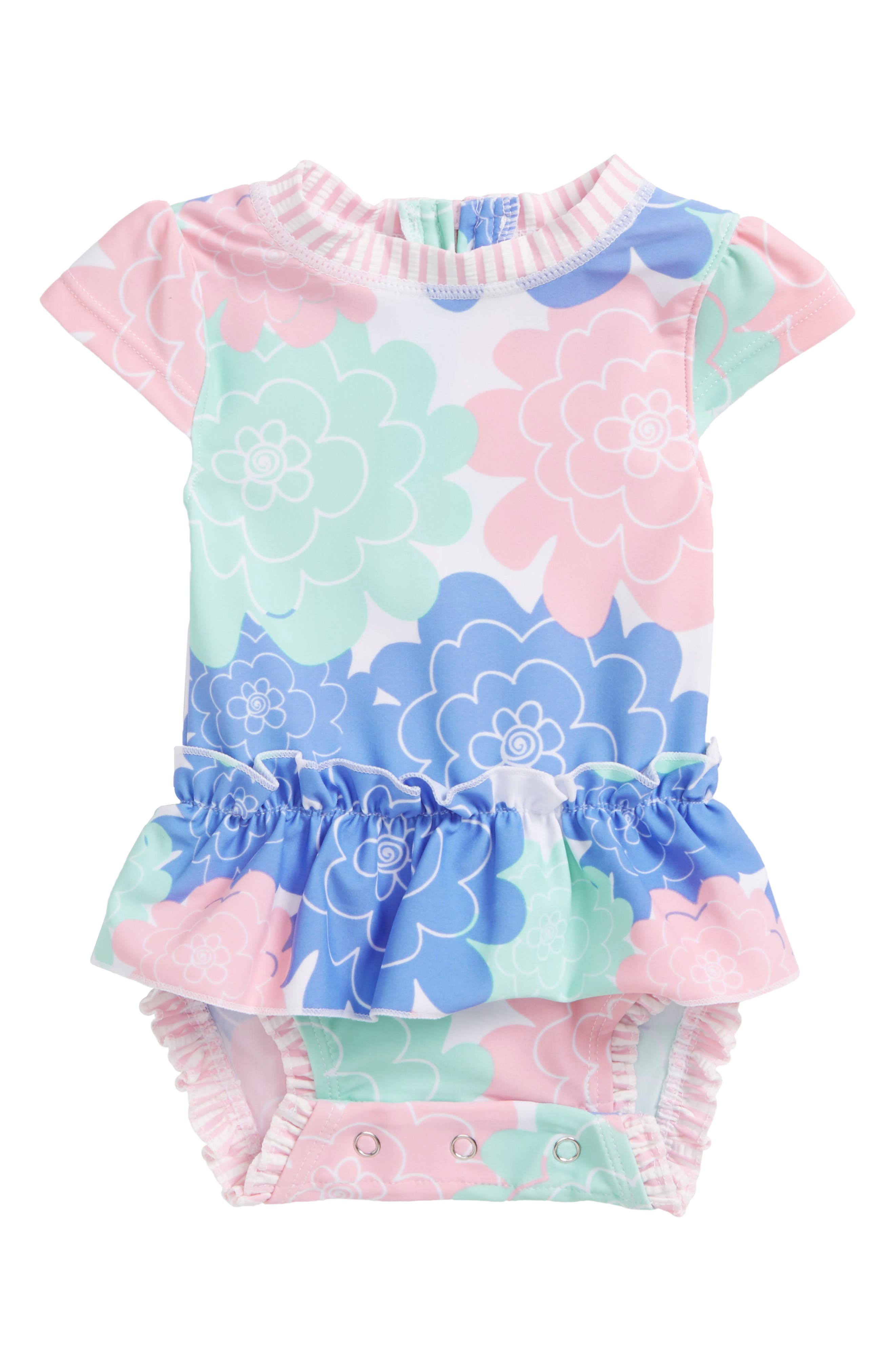 RUFFLEBUTTS,                             Pastel Petals Peplum One-Piece Swimsuit,                             Main thumbnail 1, color,                             180