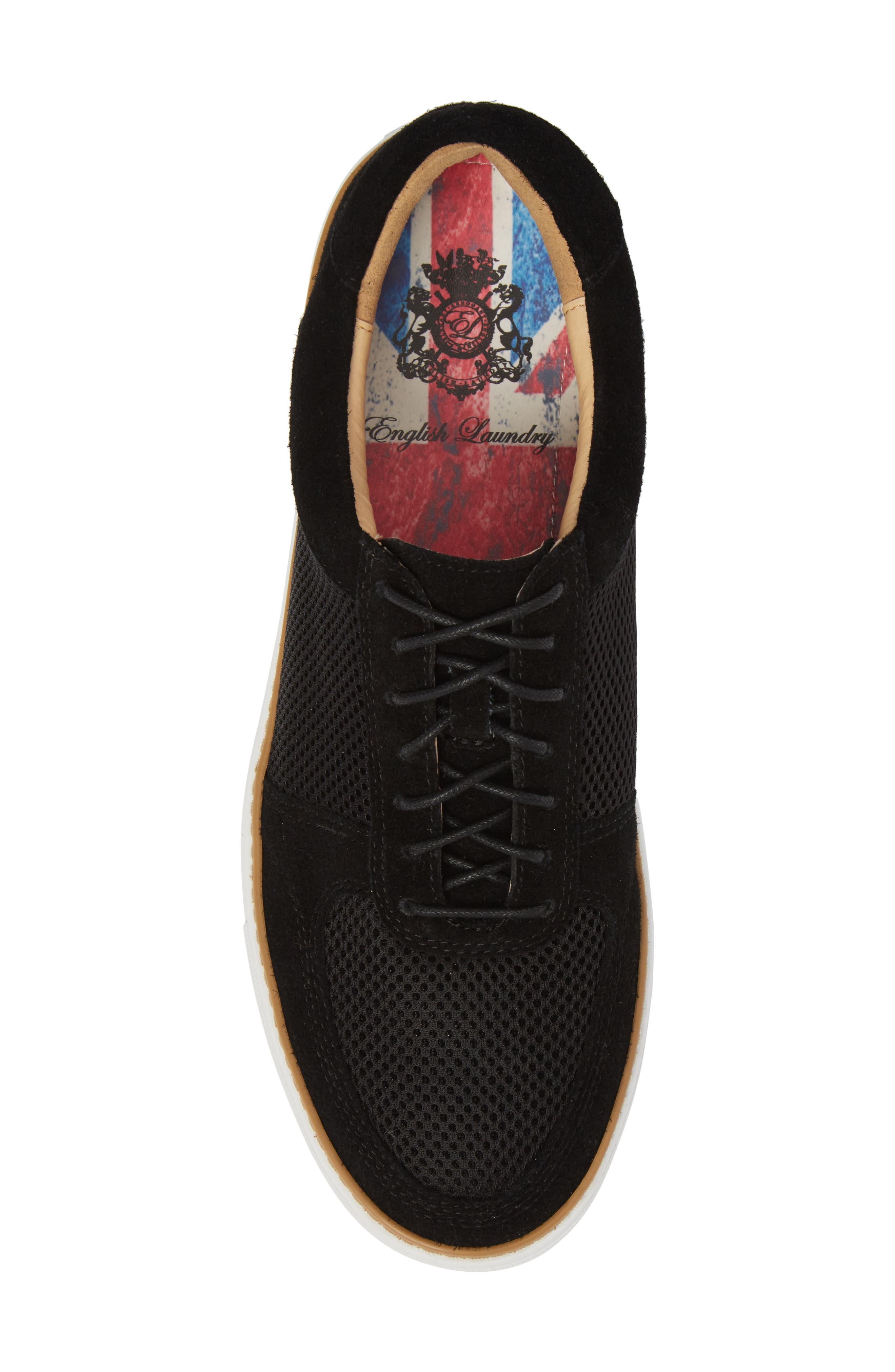 Landseer Mesh Sneaker,                             Alternate thumbnail 5, color,                             BLACK SUEDE/ MESH
