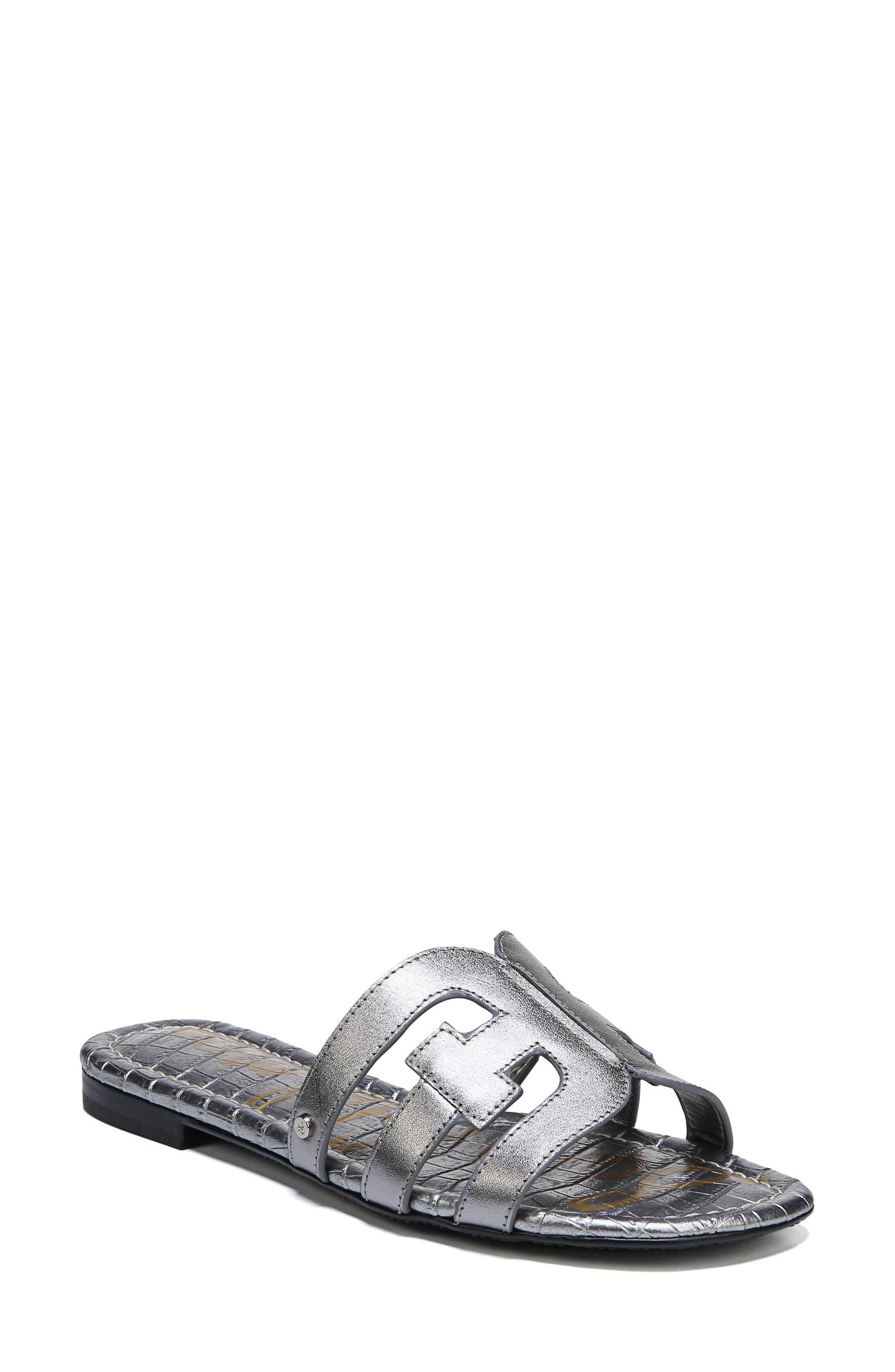 Bay Cutout Slide Sandal,                         Main,                         color, PEWTER LEATHER
