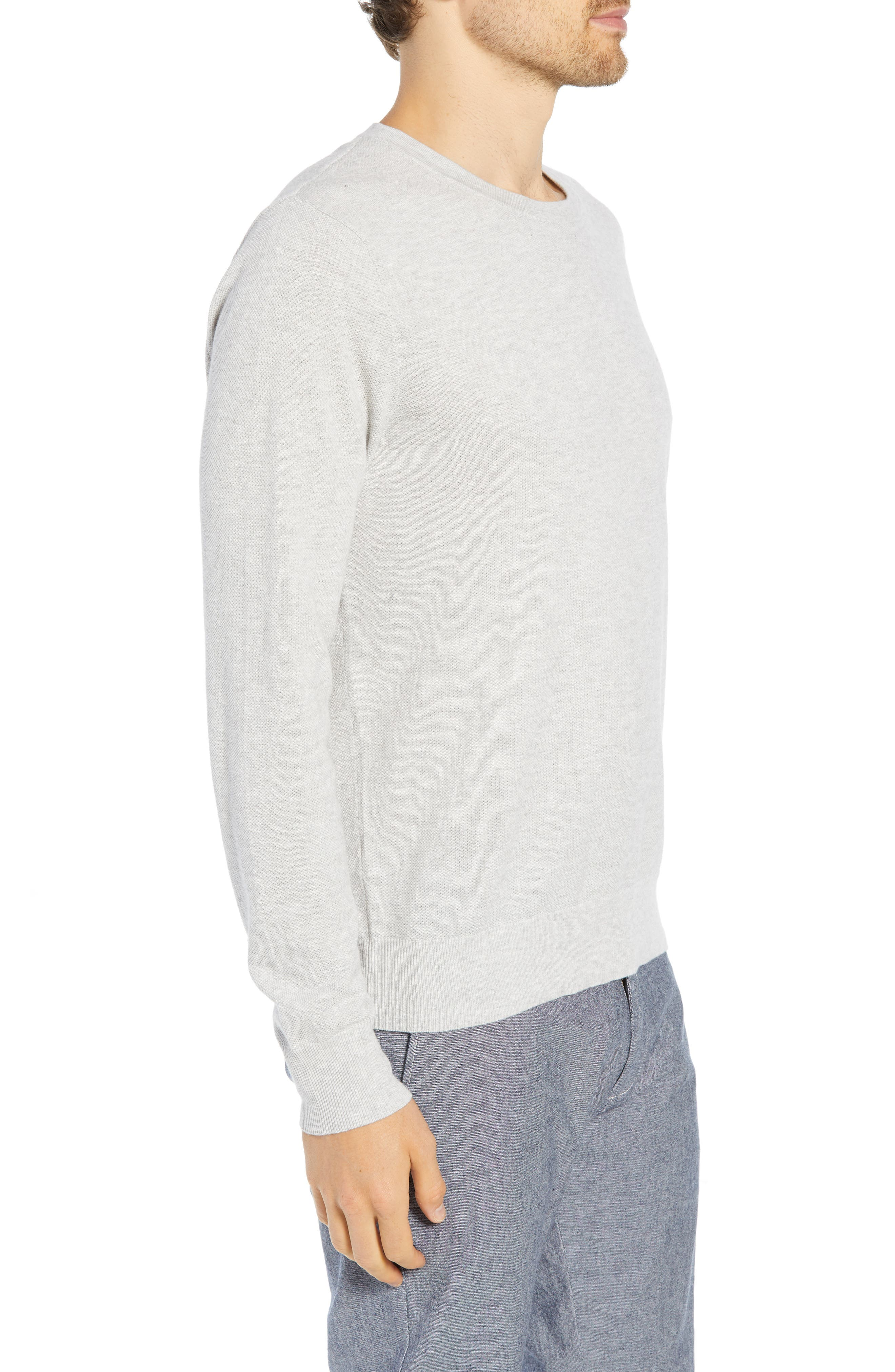 Cotton & Cashmere Piqué Crewneck Sweater,                             Alternate thumbnail 3, color,                             HEATHER SILVER