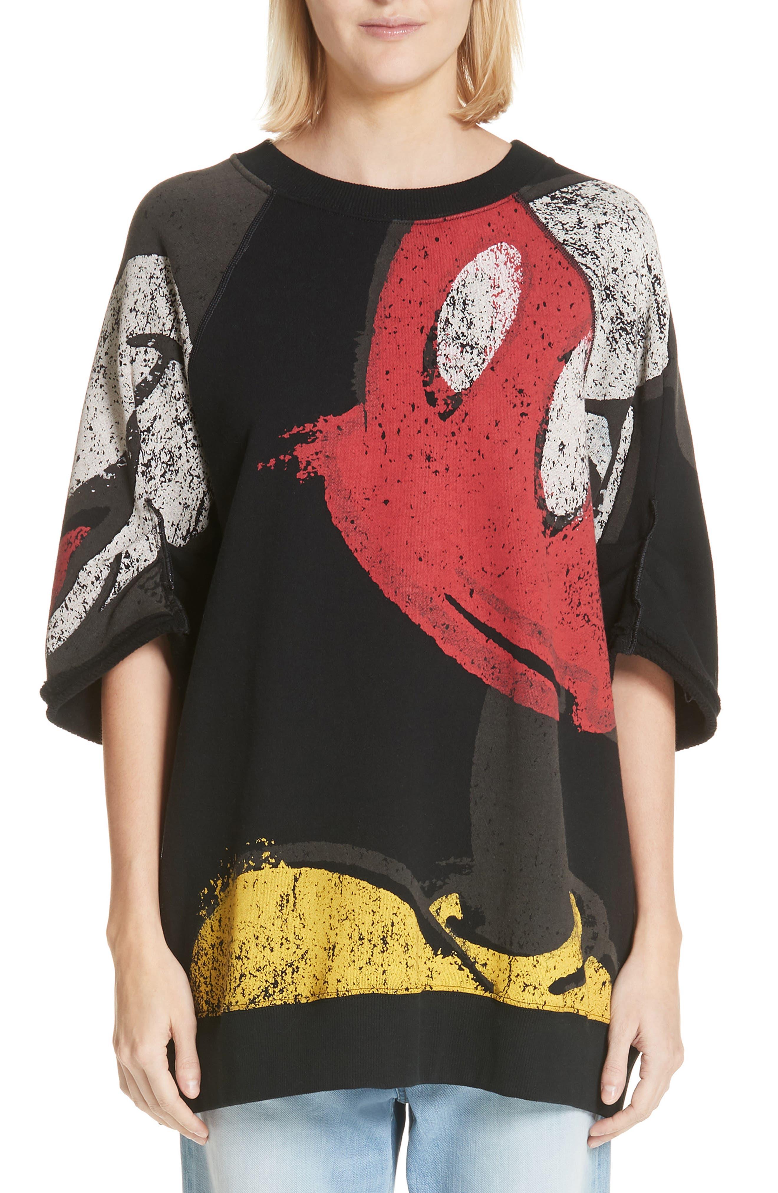 Mickey Mouse Short Sleeve Sweatshirt in Black