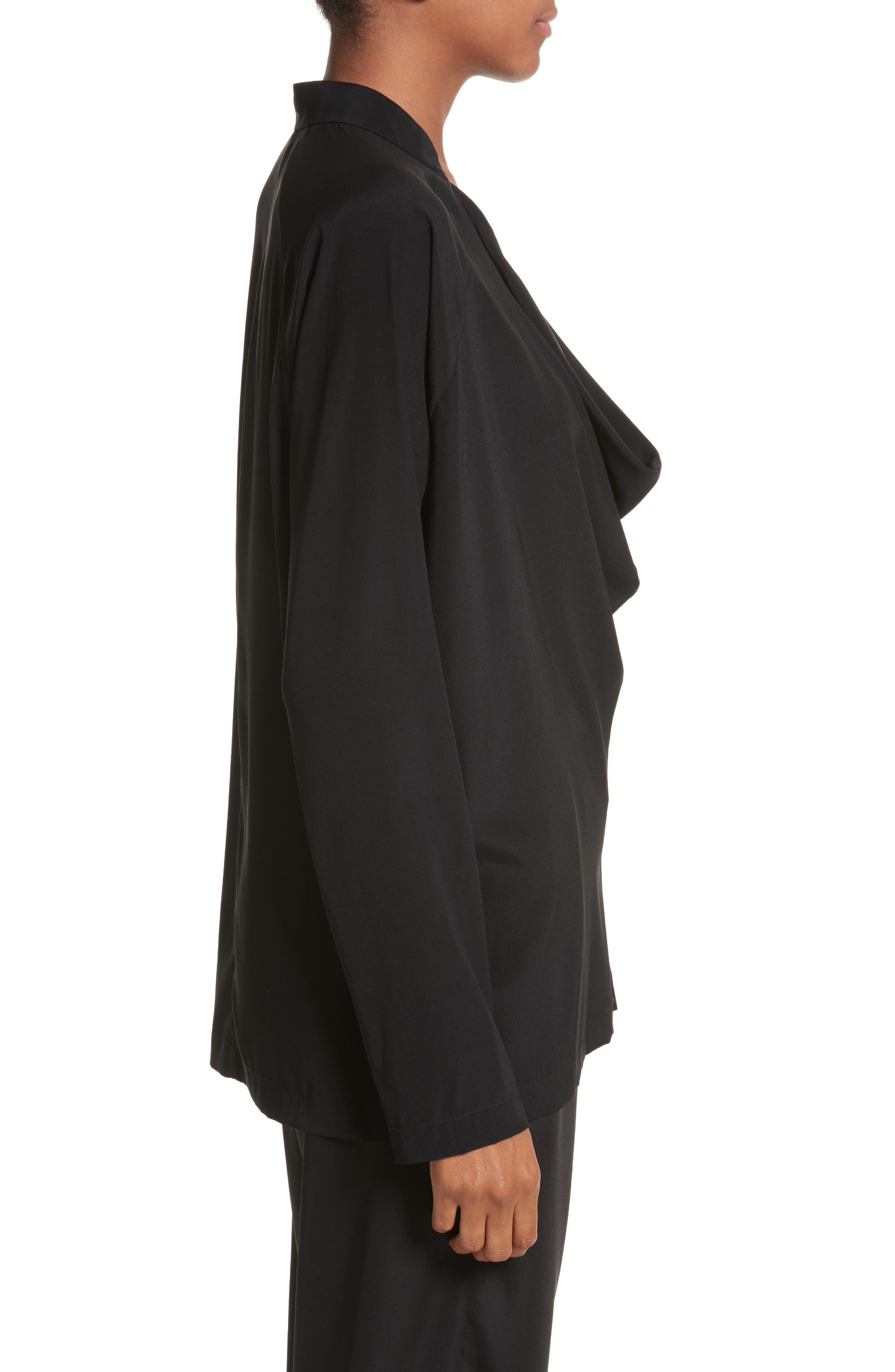Drape Neck Stretch Silk Blouse,                             Alternate thumbnail 3, color,                             BLACK