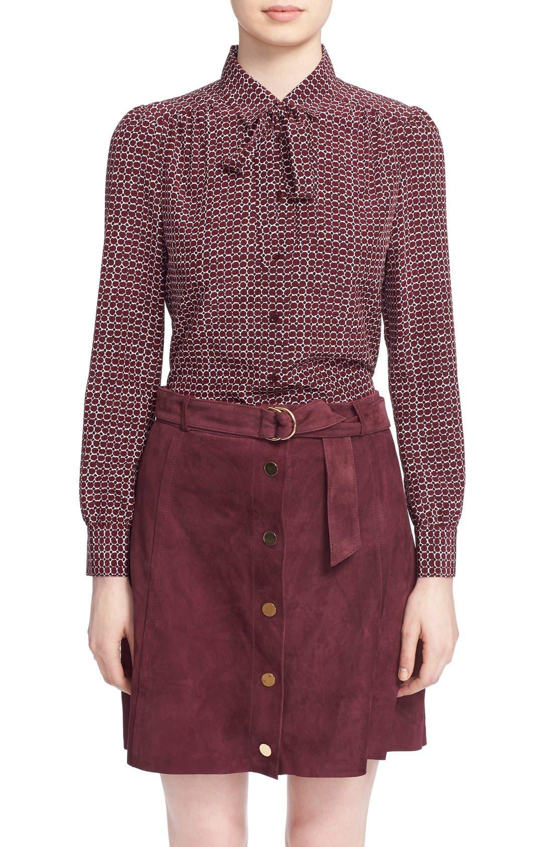 'parker dot' print silk bow blouse,                         Main,                         color, 619