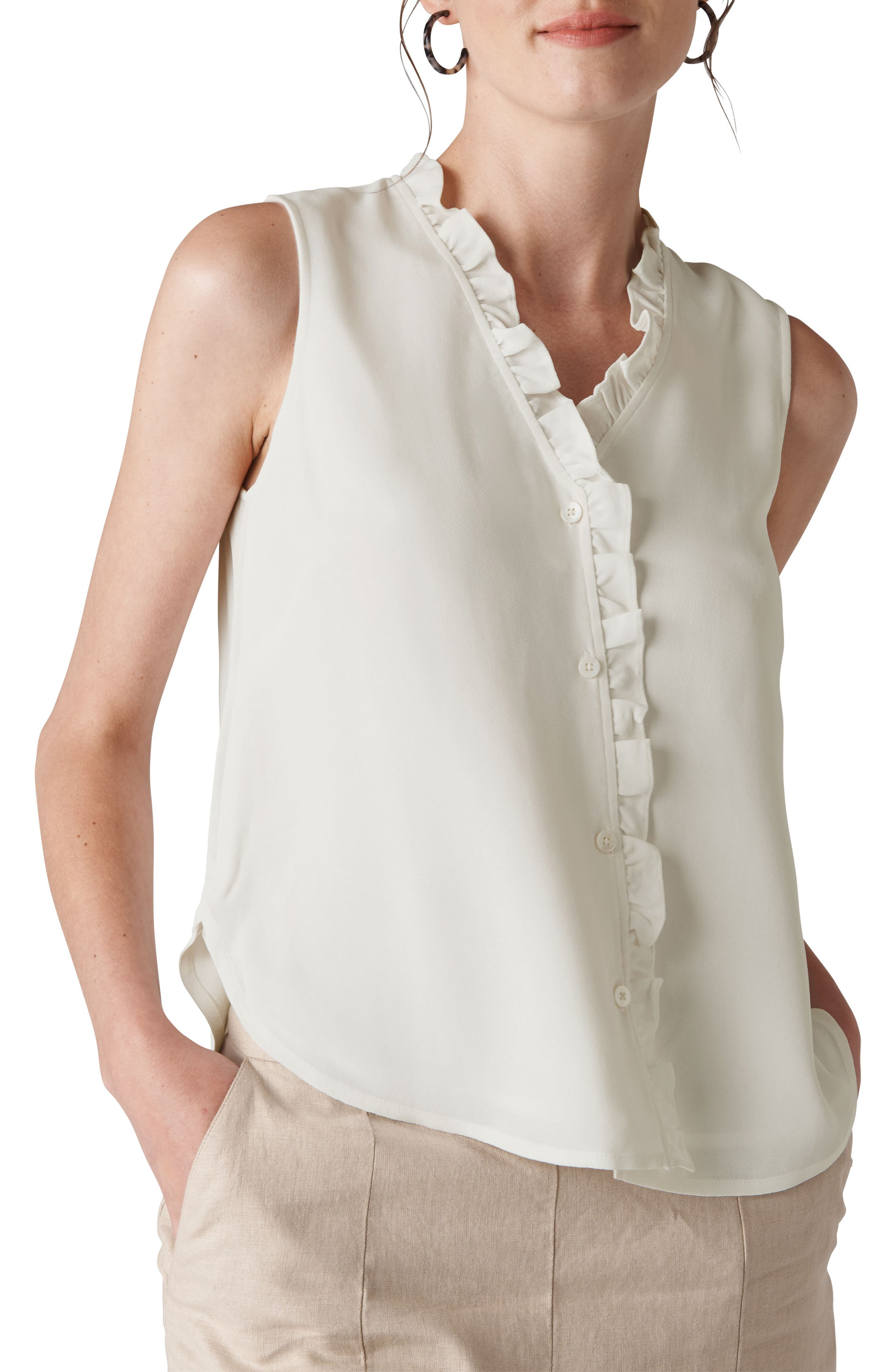Maddie Frill Top,                         Main,                         color, IVORY
