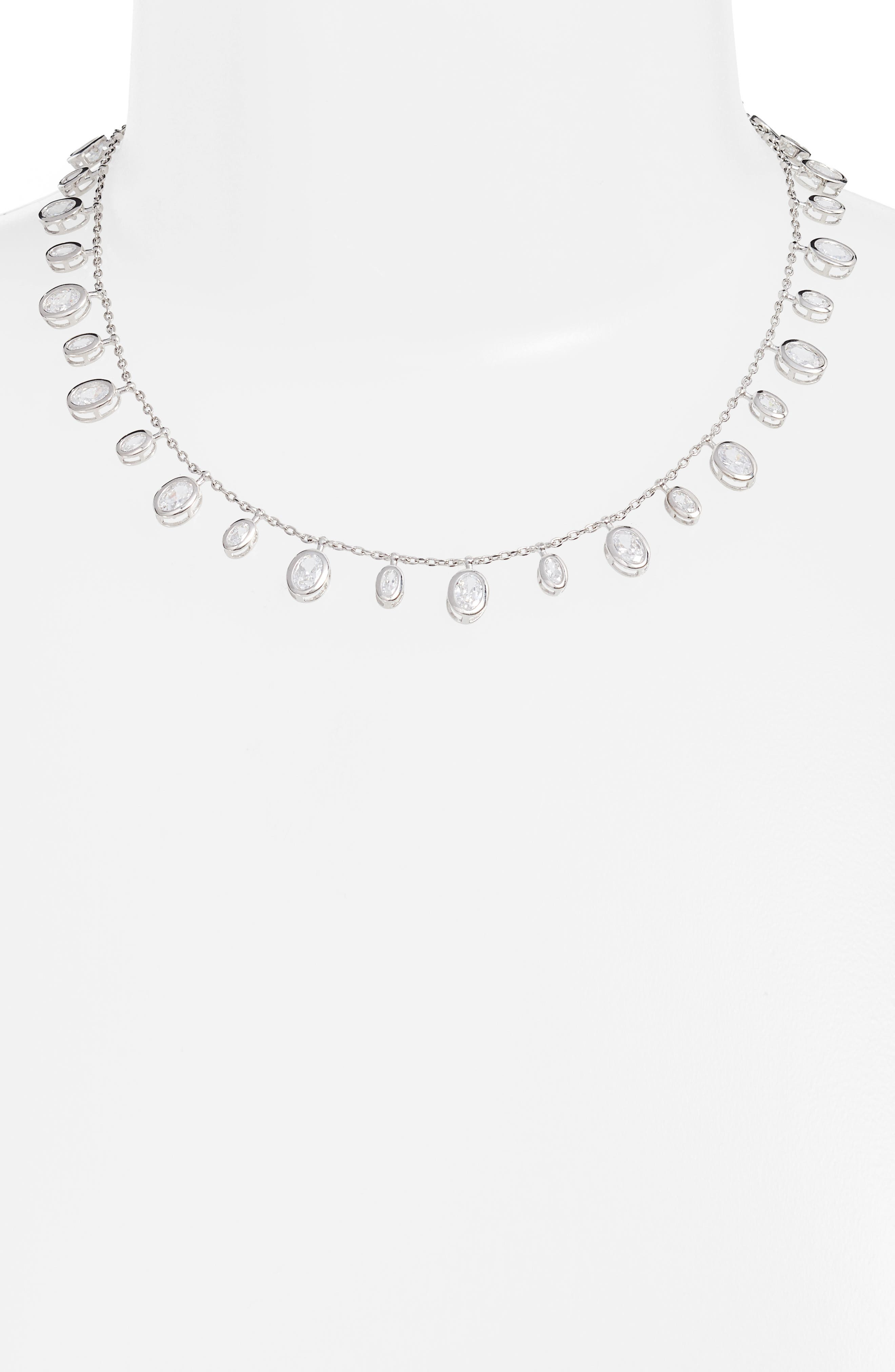 Tracey Cubic Zirconia Collar Necklace,                             Alternate thumbnail 2, color,                             041
