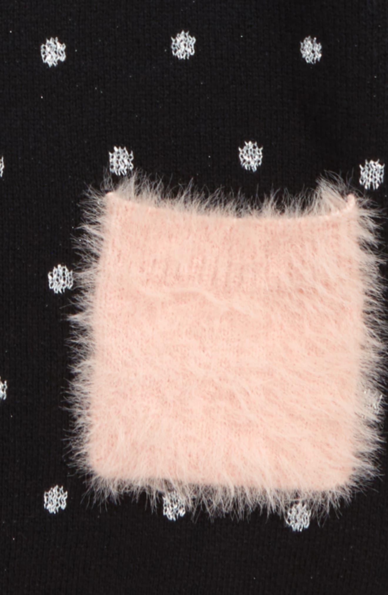 Fuzzy Pocket Sweater Dress,                             Alternate thumbnail 3, color,                             BLACK- SILVER DOT