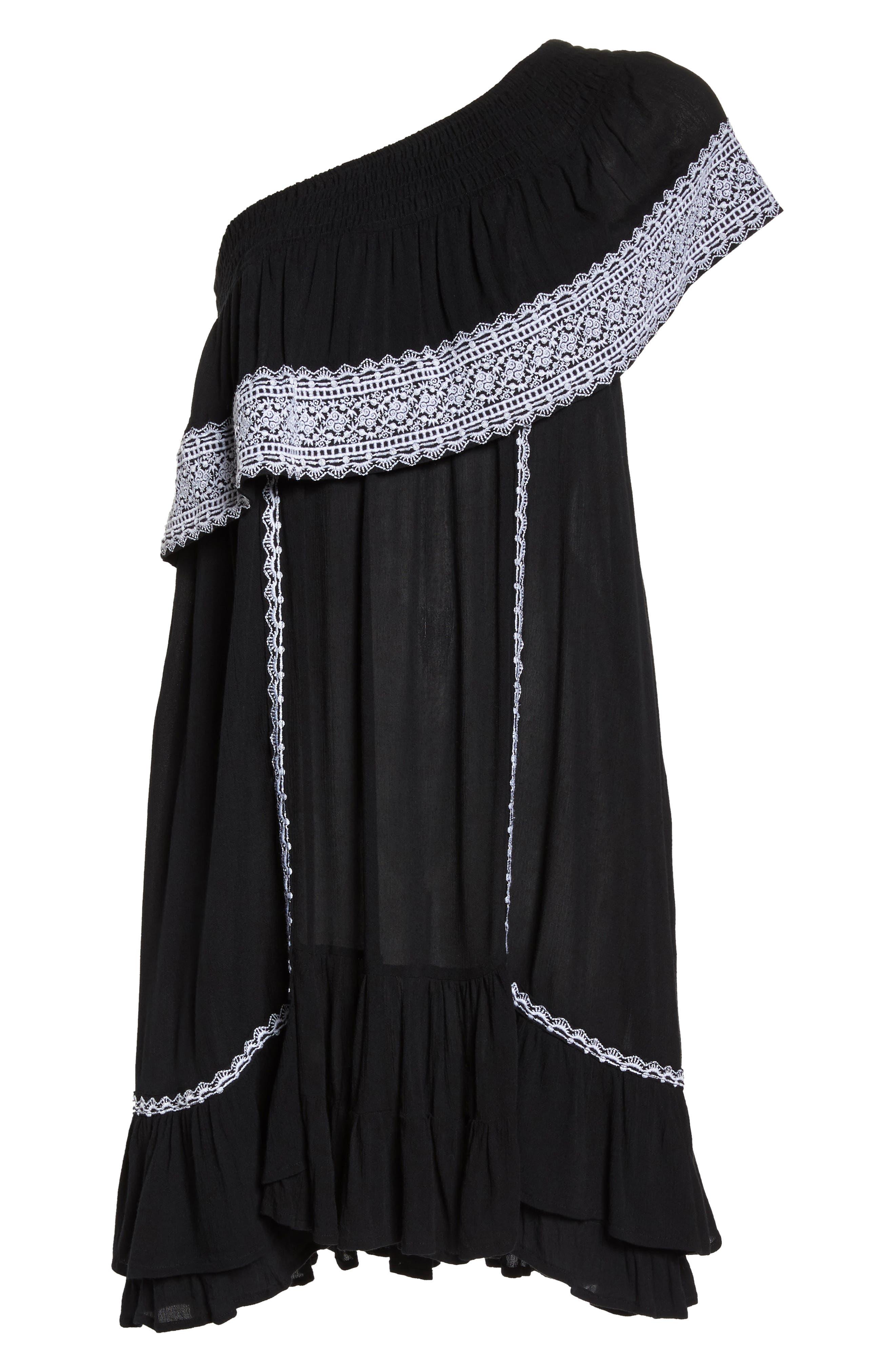 Gavin One-Shoulder Cover-Up Dress,                             Alternate thumbnail 6, color,                             002