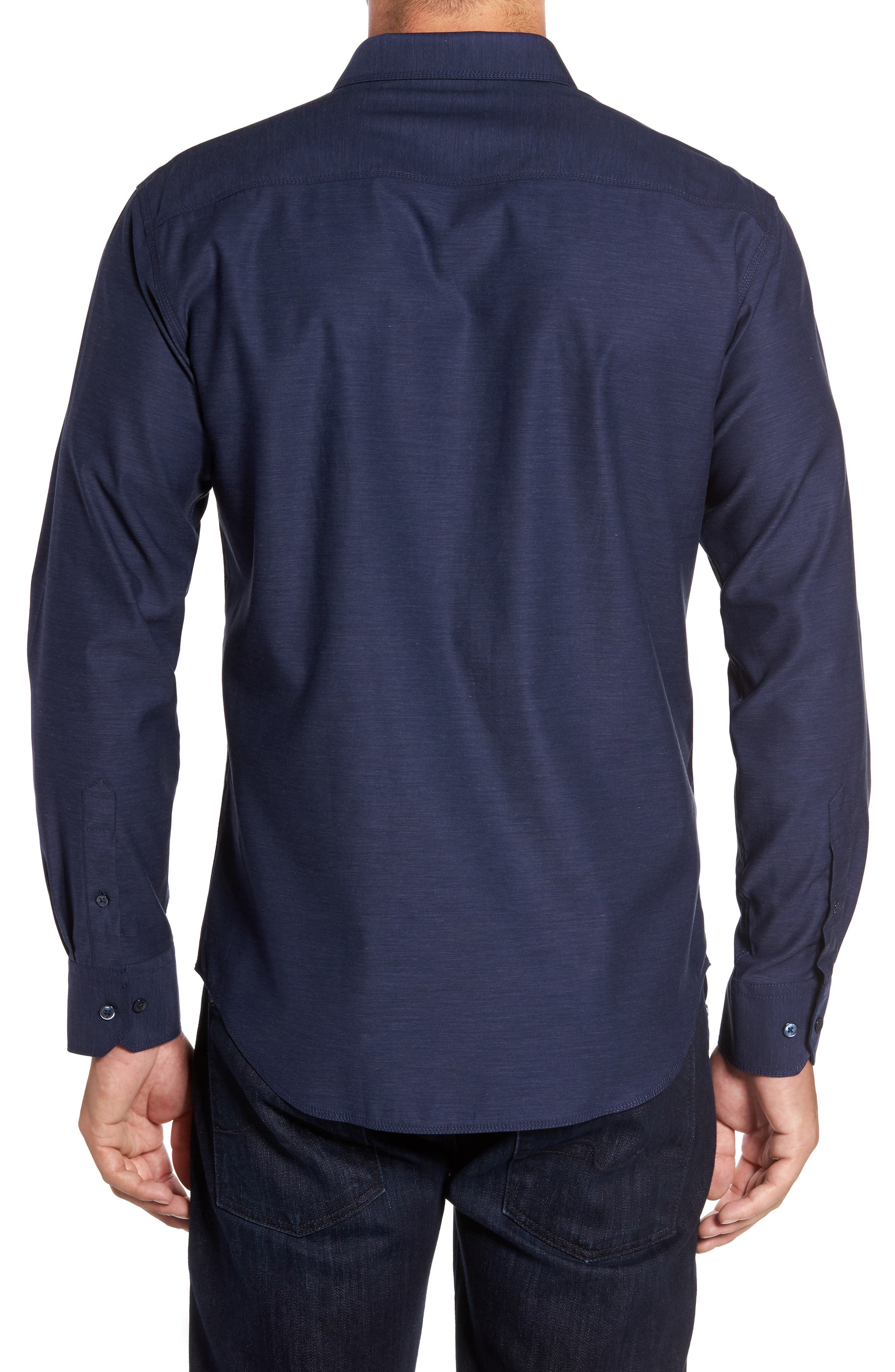 Trim Fit Heathered Sport Shirt,                             Alternate thumbnail 6, color,