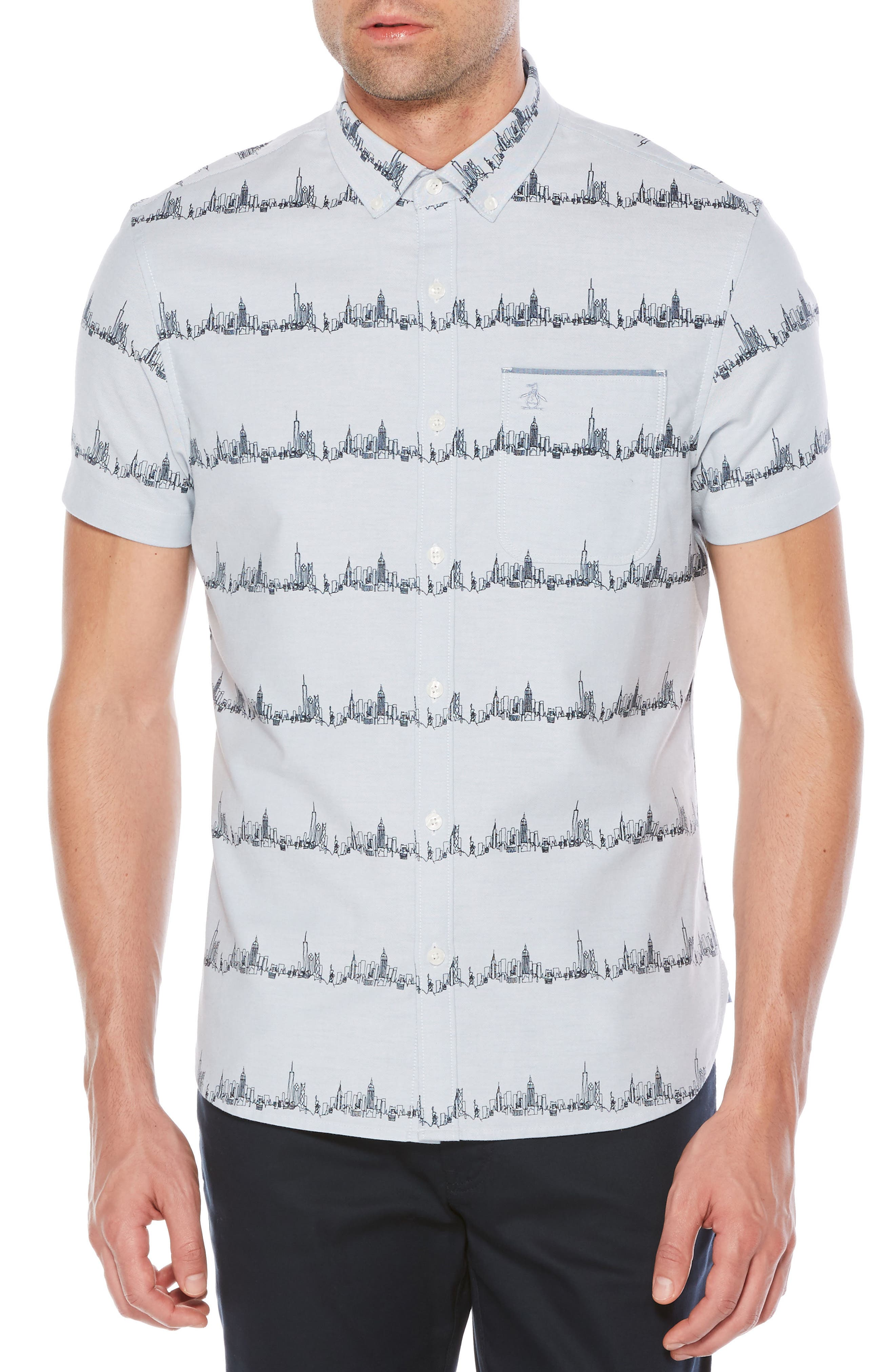 City Slim Fit Stripe Oxford Shirt,                         Main,                         color, 420
