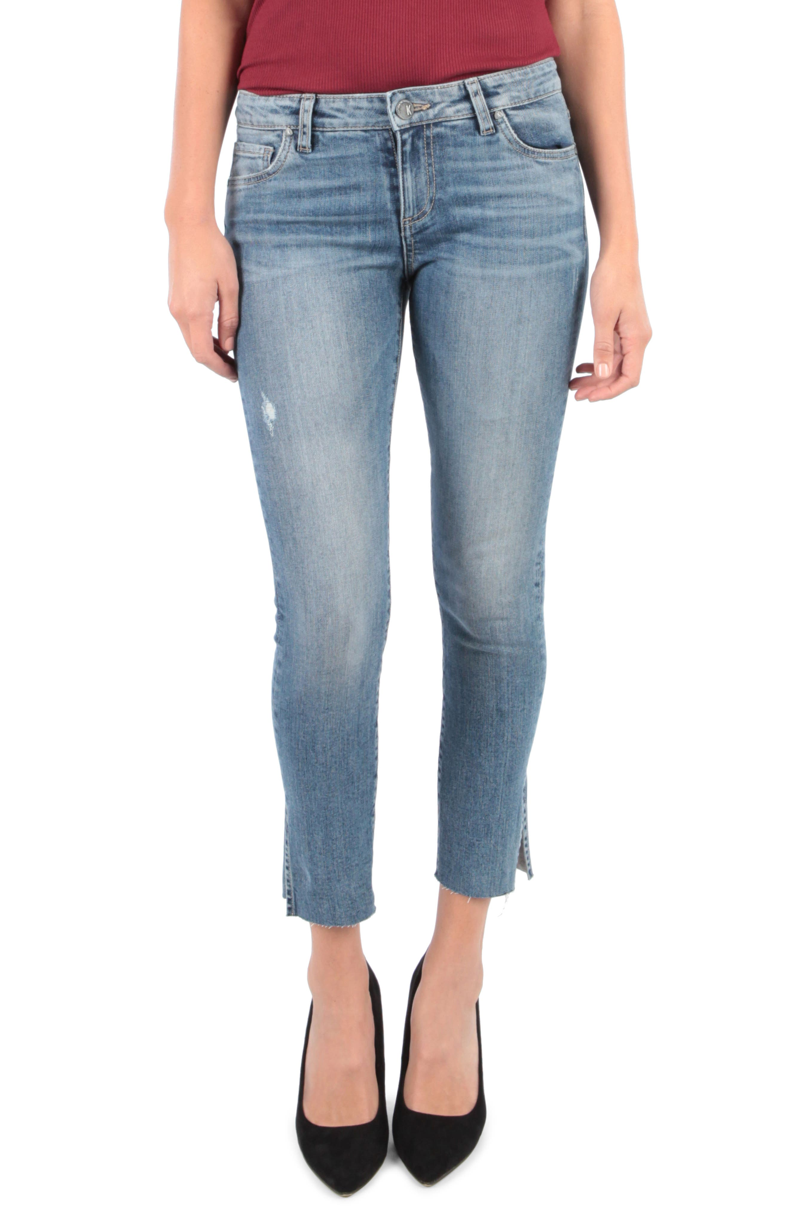 Petite Kut From The Kloth Reese Side Slit Ankle Straight Leg Jeans, Blue