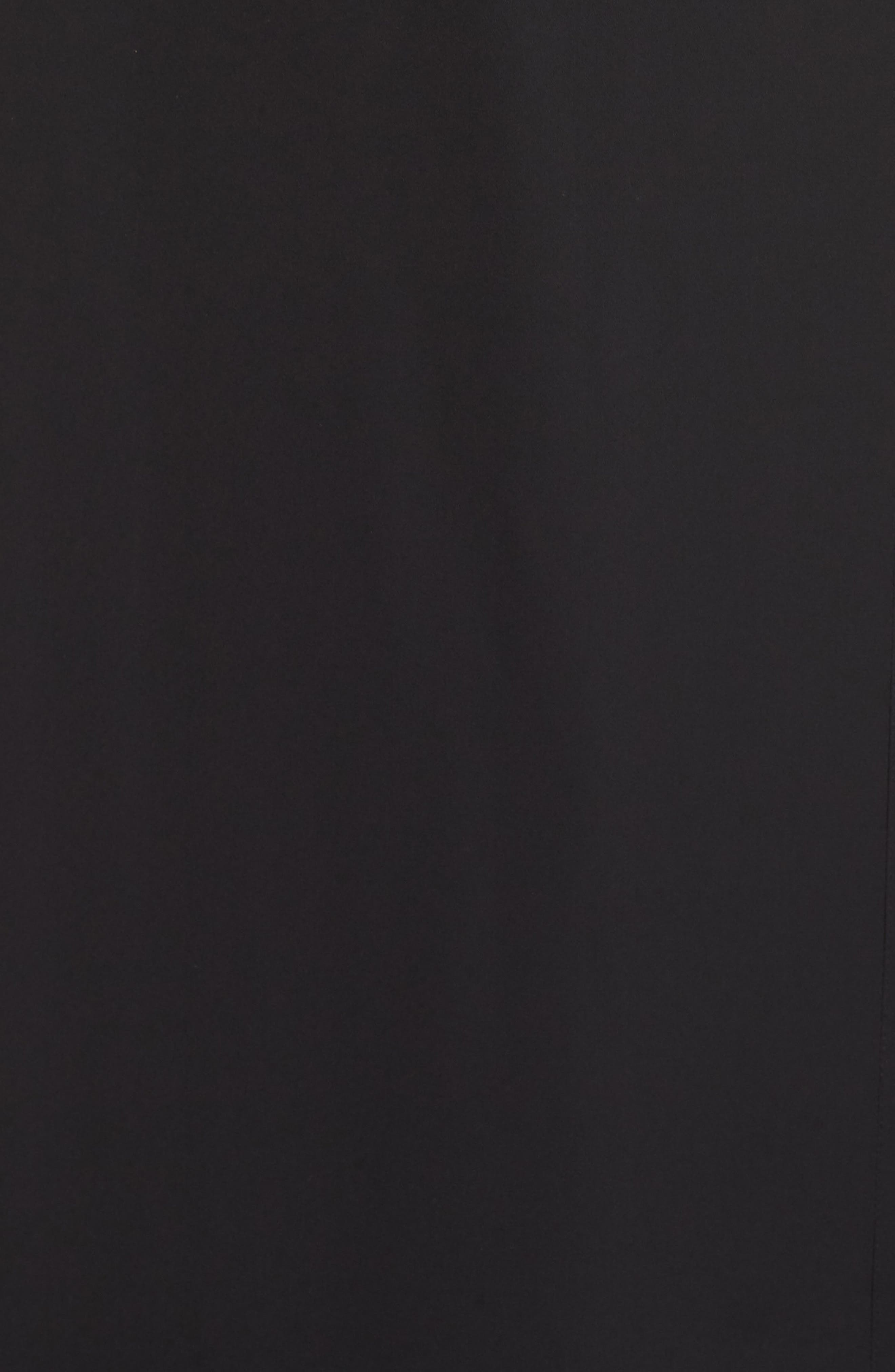 WAYF,                             The Evaline Flutter Ruffle Wrap Gown,                             Alternate thumbnail 6, color,                             BLACK