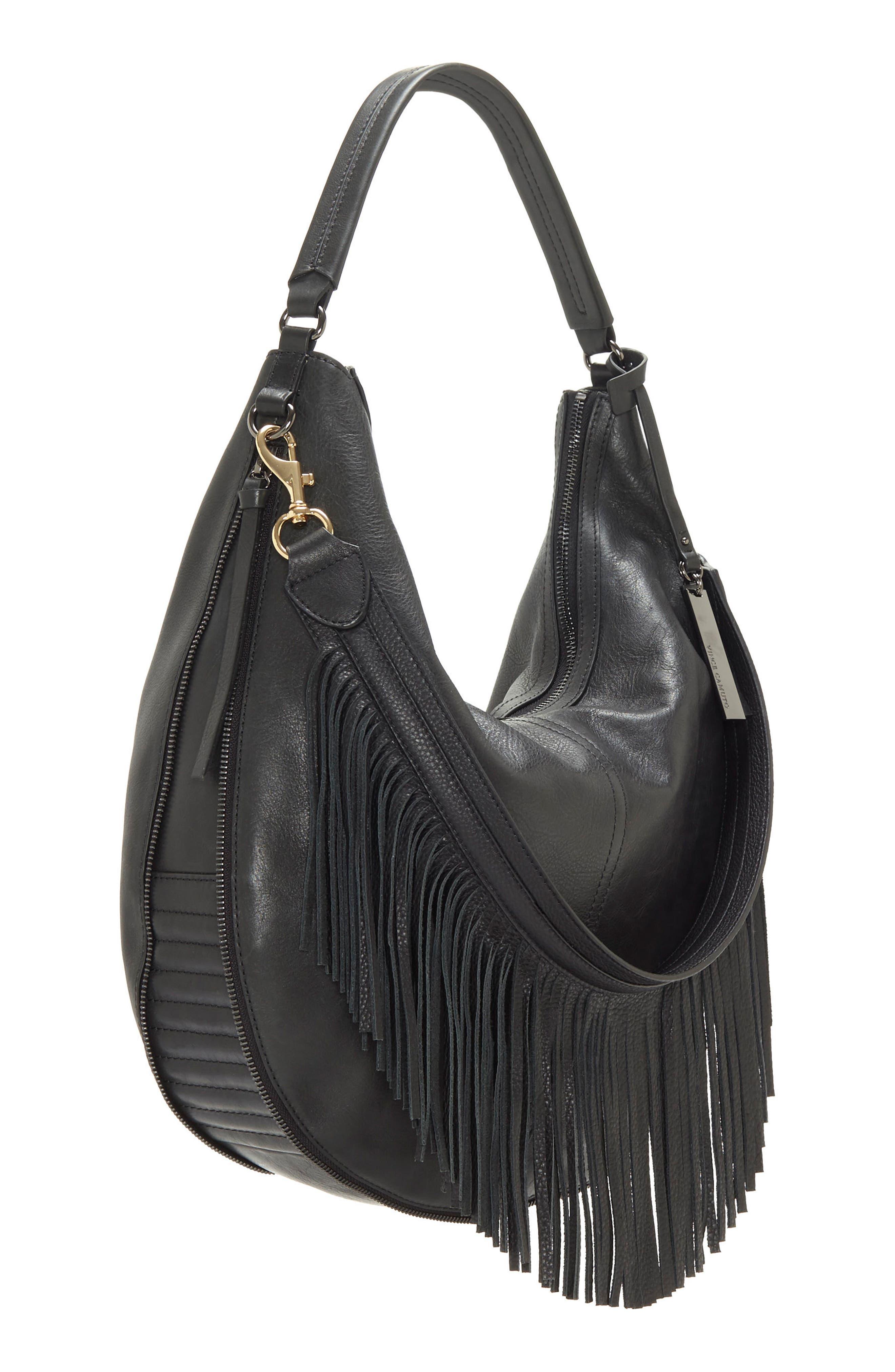 Hil Leather Hobo Bag,                             Alternate thumbnail 4, color,                             002