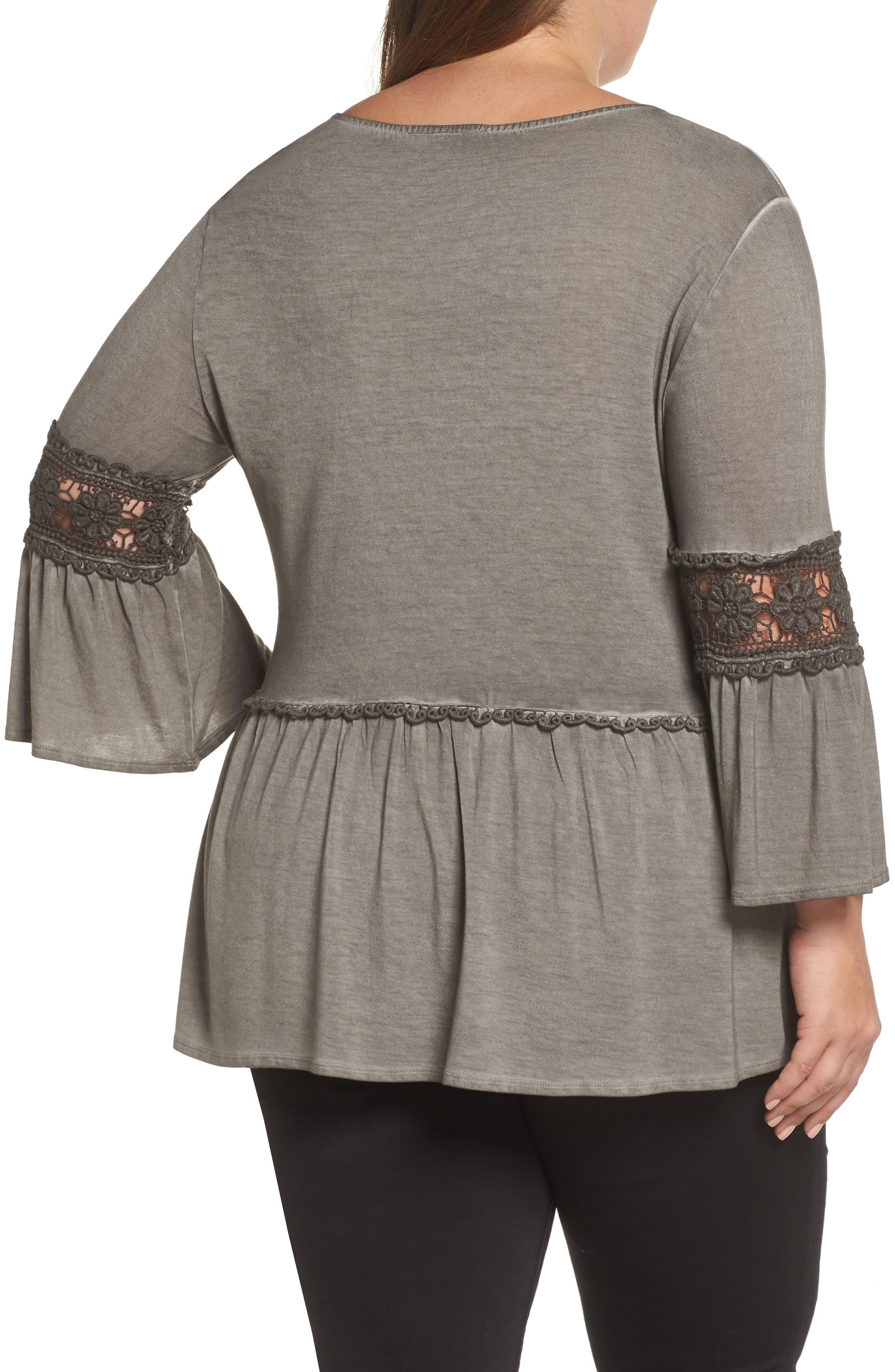 DANTELLE,                             Oil Dye Knit Lace Inset Top,                             Alternate thumbnail 2, color,                             FALCON