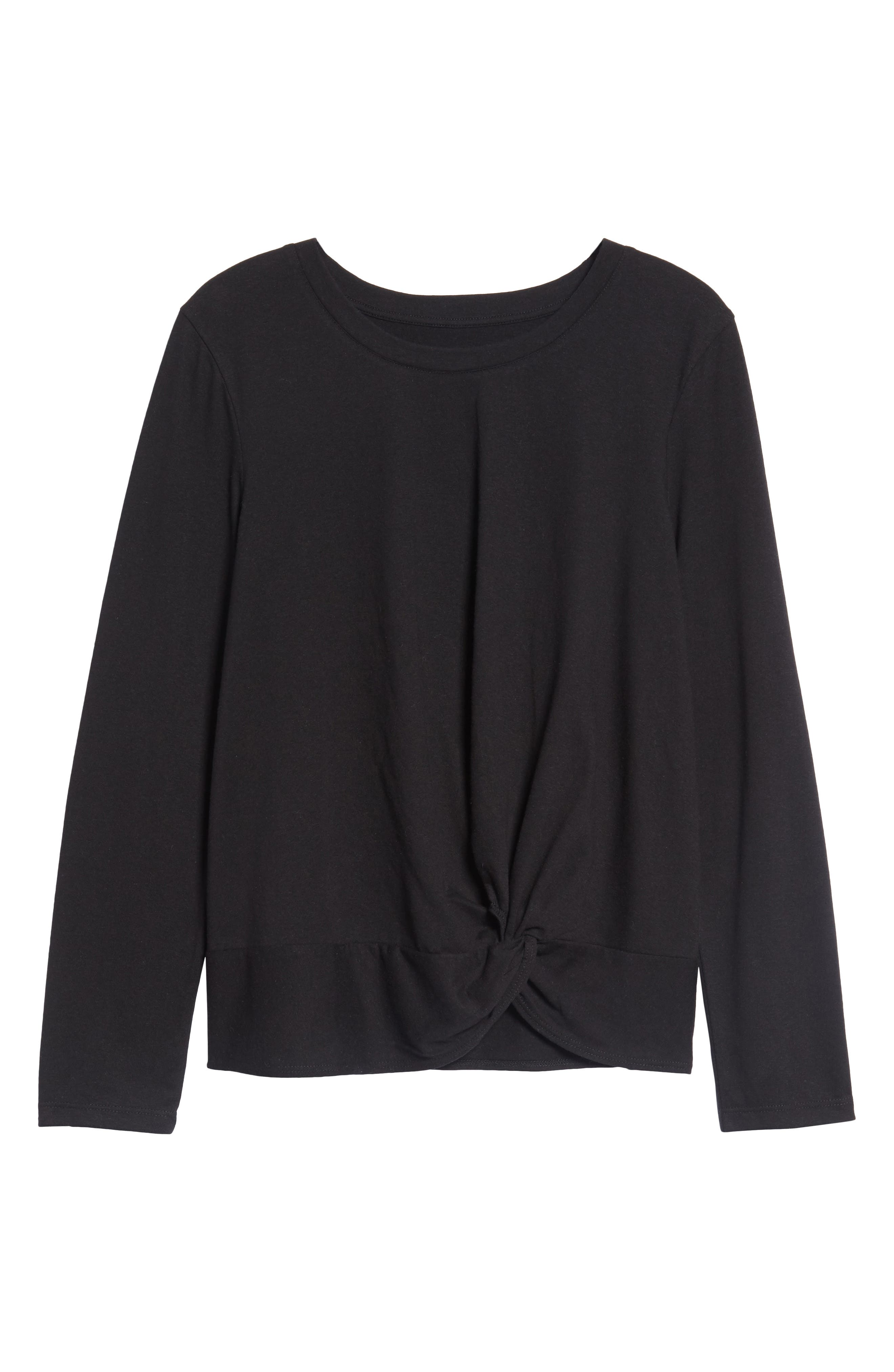 Long Sleeve Front Knot Tee,                             Alternate thumbnail 6, color,                             BLACK