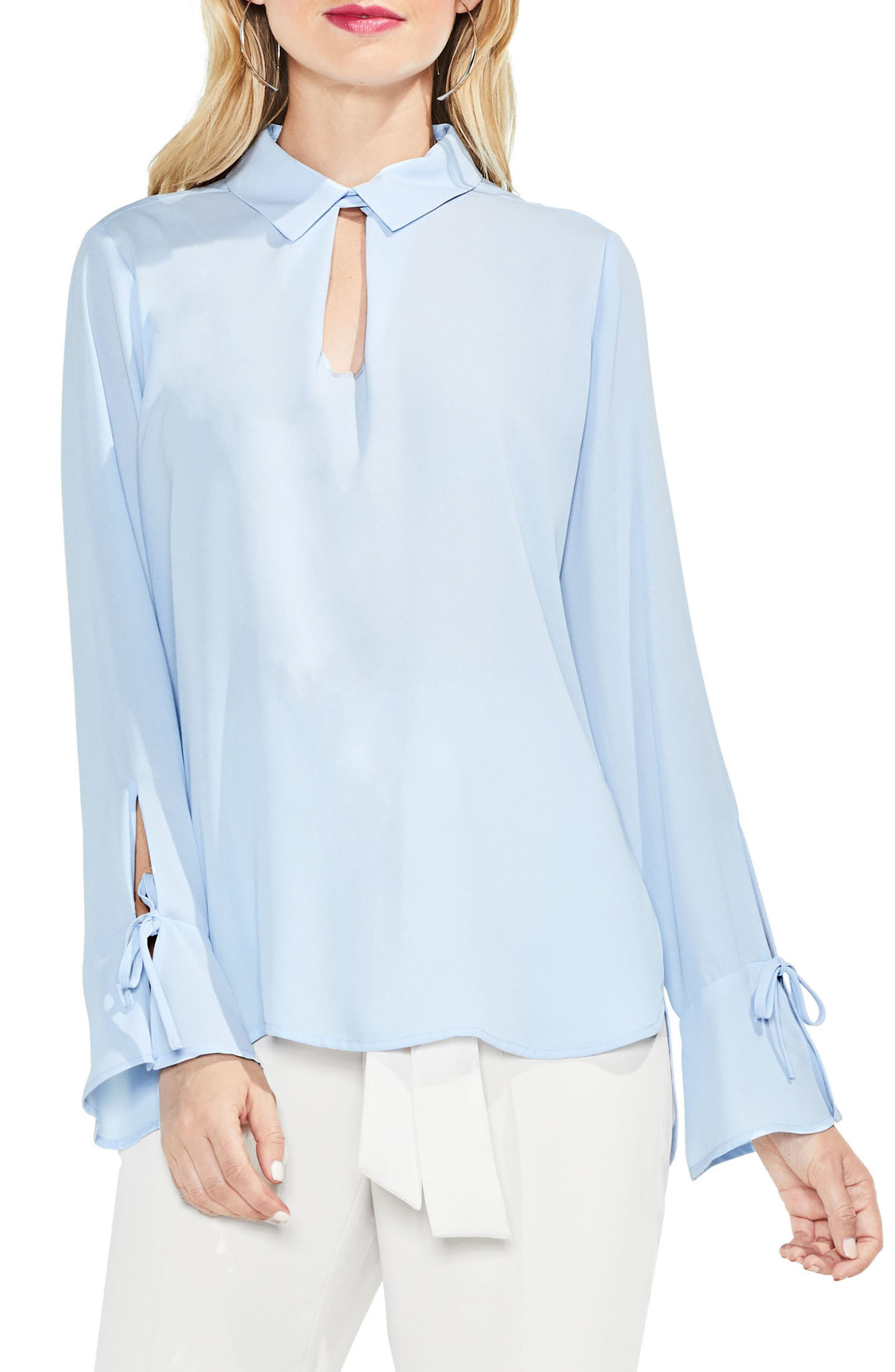 Flare Cuff Keyhole Blouse,                             Main thumbnail 3, color,
